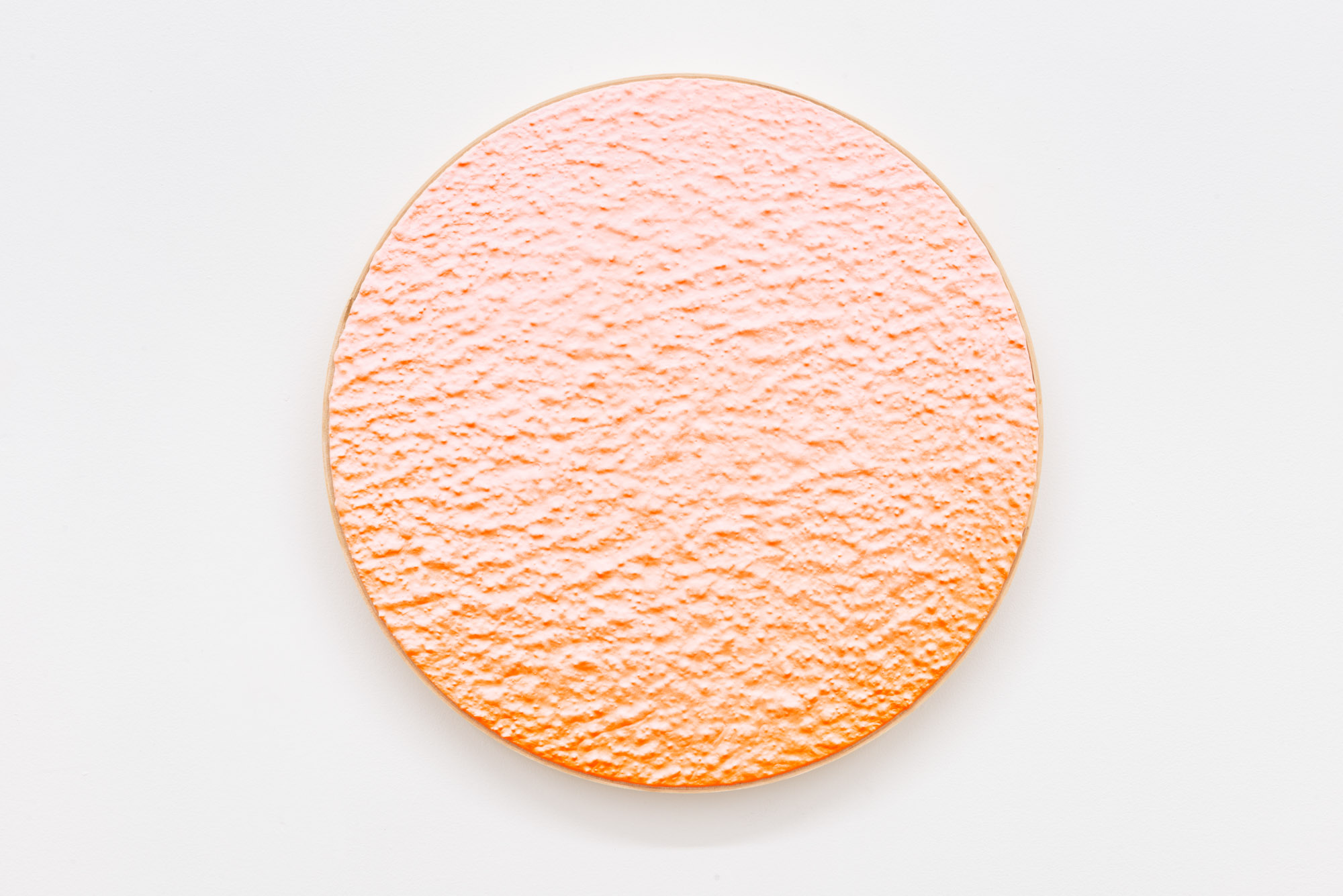 """Pierre Julien,  In the Deepest Oceans  - B007, 2018, stucco, acrylic and spray paint on wood panel, 16"""" diameter (41 cm)"""