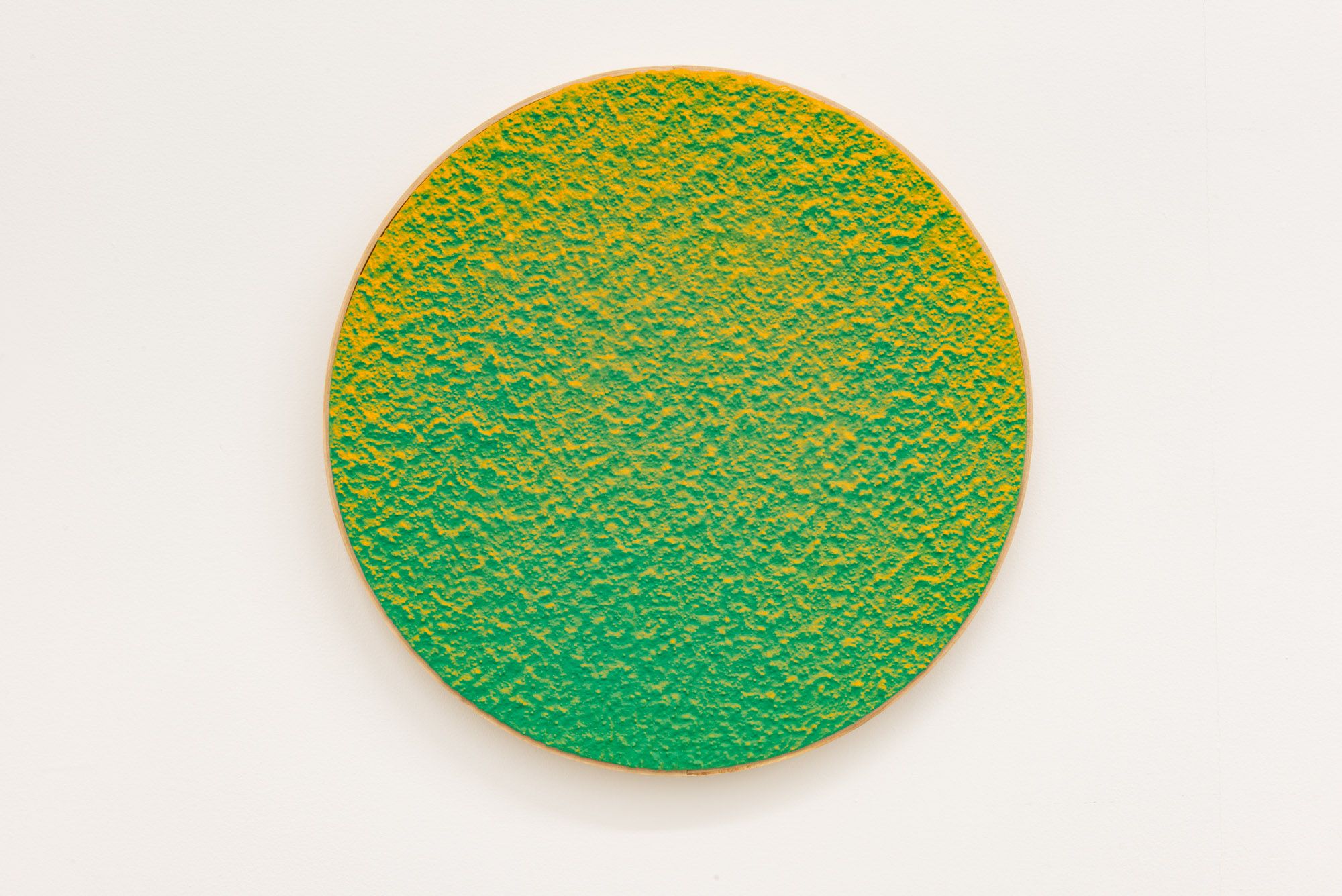 """Pierre Julien,  In the Deepest Oceans  - B006, 2018, stucco, acrylic and spray paint on wood panel, 16"""" diameter (41 cm)"""