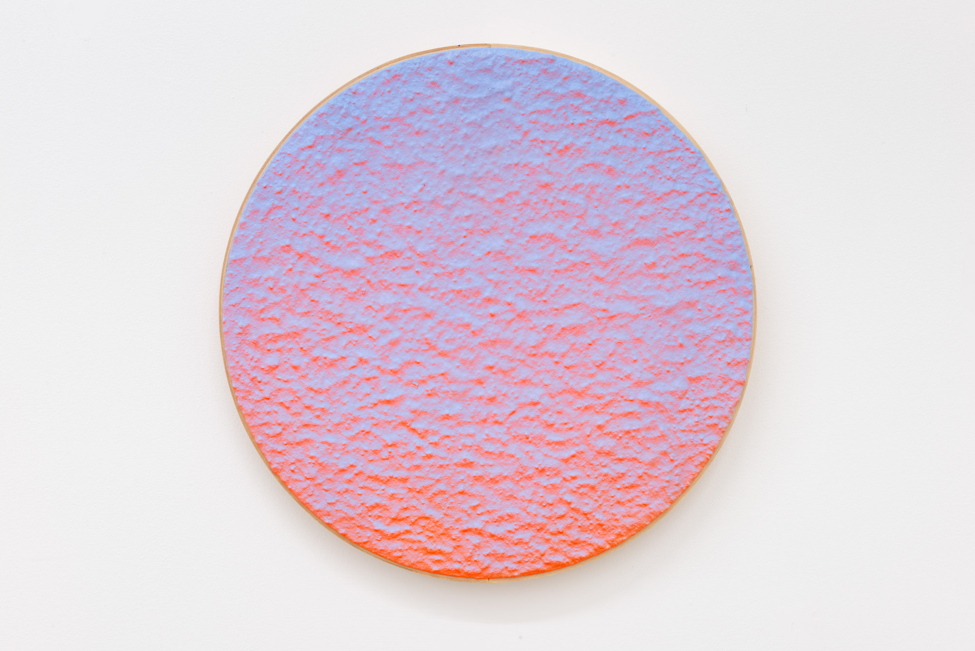 """Pierre Julien,  In the Deepest Oceans  - B015, 2018, stucco, acrylic and spray paint on wood panel, 16"""" diameter (41 cm)"""