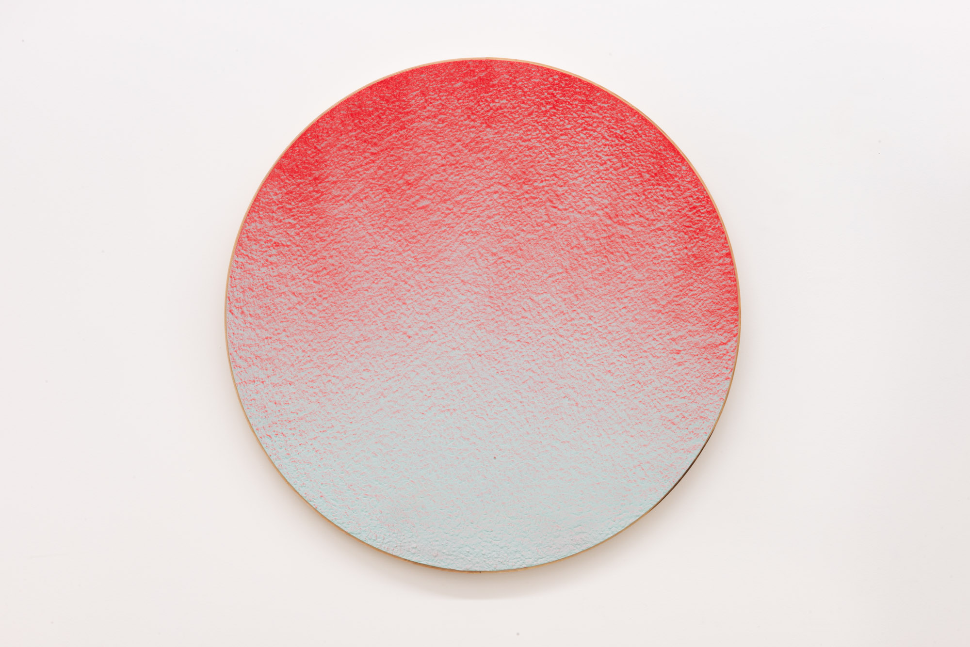 """Pierre Julien,  In the Deepest Oceans  - C003, 2018, stucco, acrylic and spray paint on wood panel, 30"""" diameter (76 cm)"""