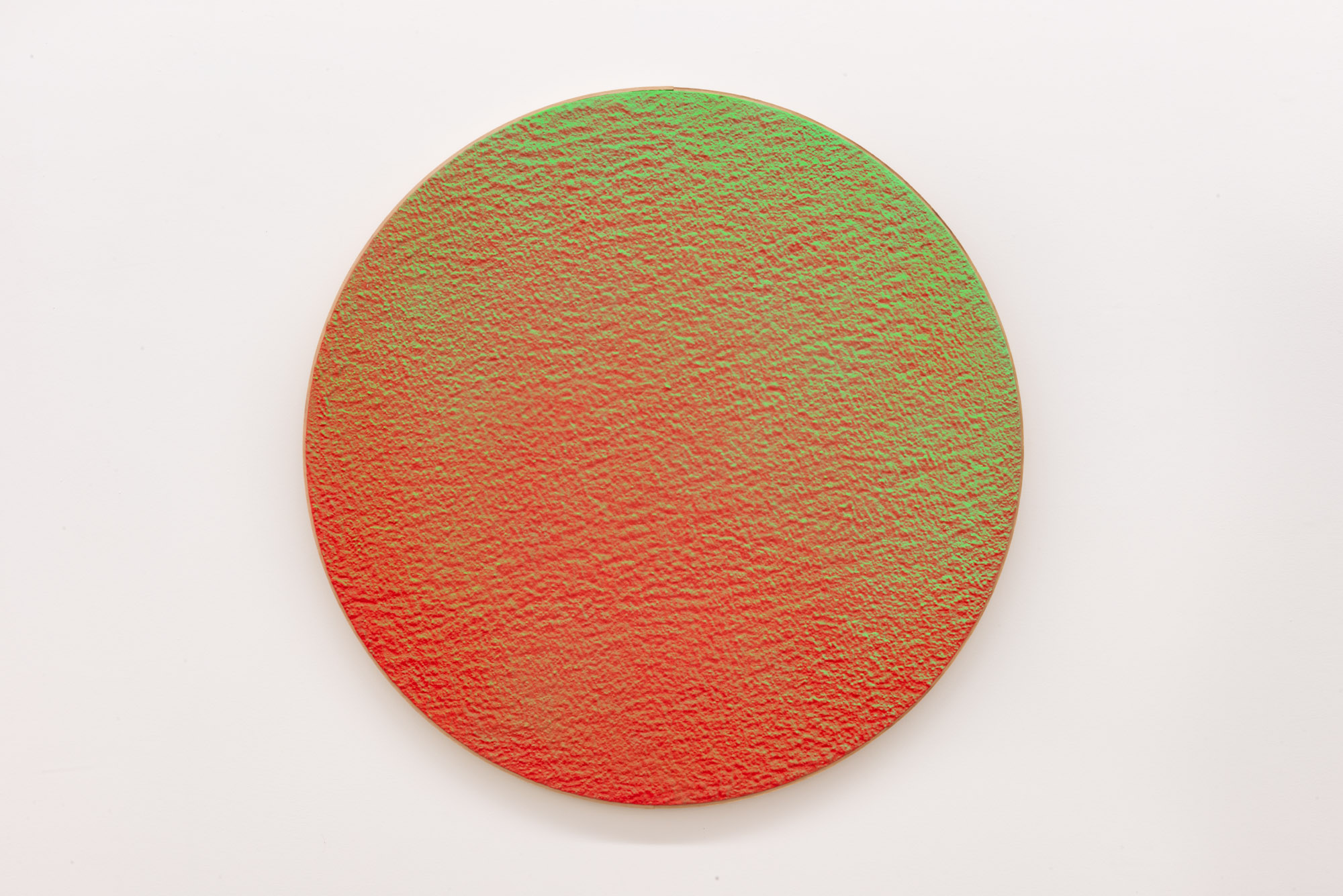 """Pierre Julien,  In the Deepest Oceans  - C005, 2018, stucco, acrylic and spray paint on wood panel, 30"""" diameter (76 cm)"""