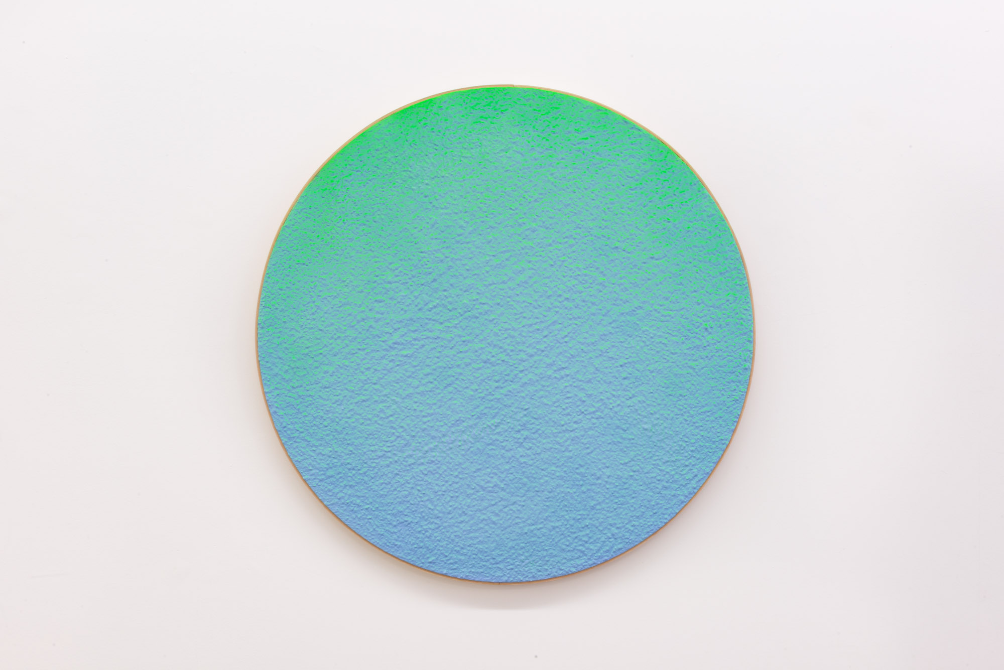 """Pierre Julien,  In the Deepest Oceans  - C004, 2018, stucco, acrylic and spray paint on wood panel, 30"""" diameter (76 cm)"""