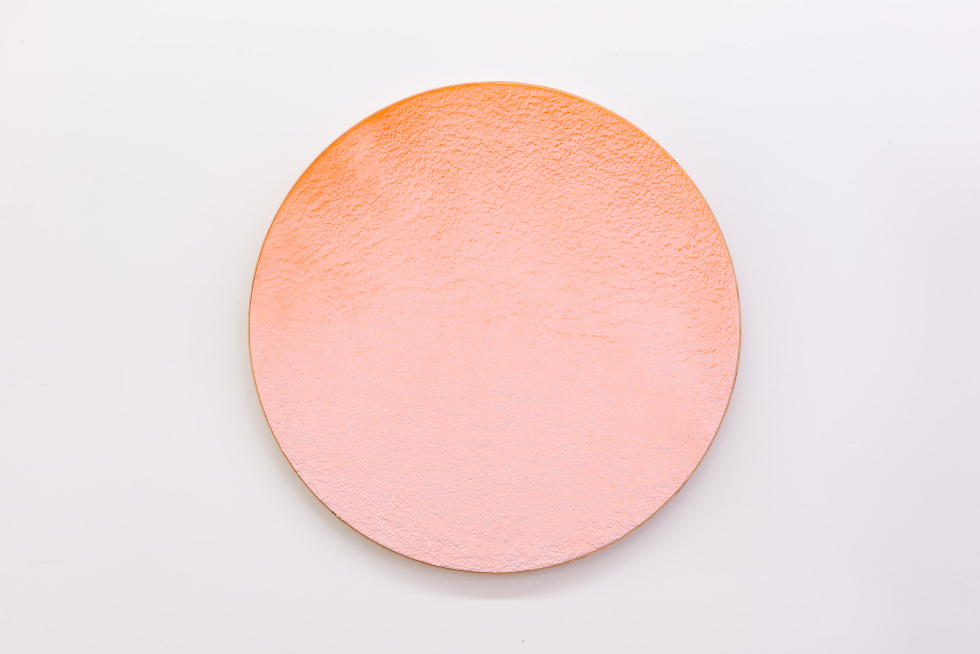 """Pierre Julien,  In the Deepest Oceans  - C002, 2018, stucco, acrylic and spray paint on wood panel, 30"""" diameter (76 cm)"""
