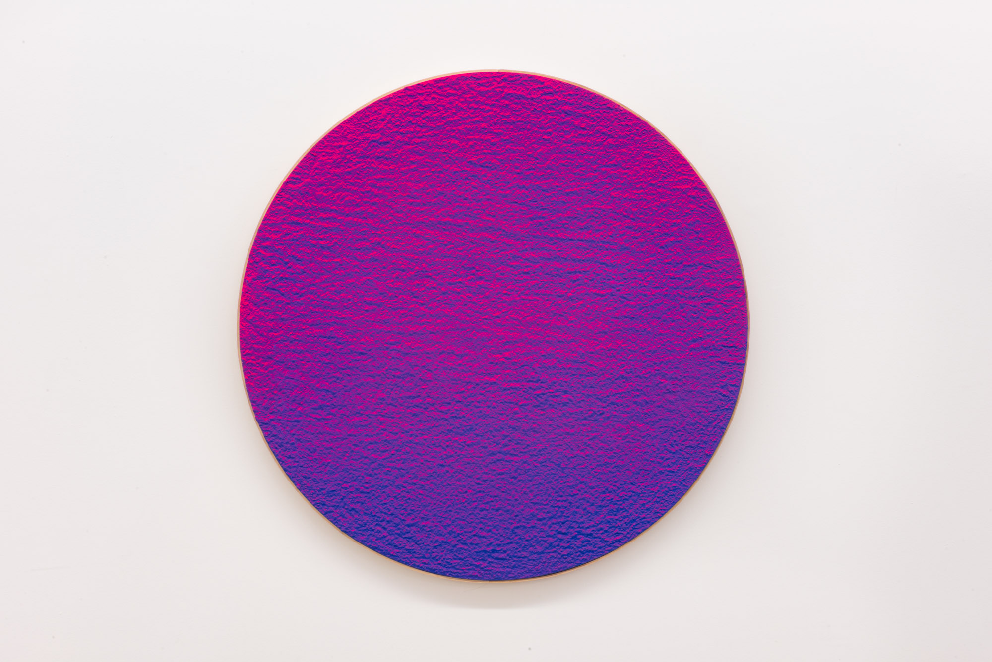 """Pierre Julien,  In the Deepest Oceans  - C001, 2018, stucco, acrylic and spray paint on wood panel, 30"""" diameter (76 cm)"""