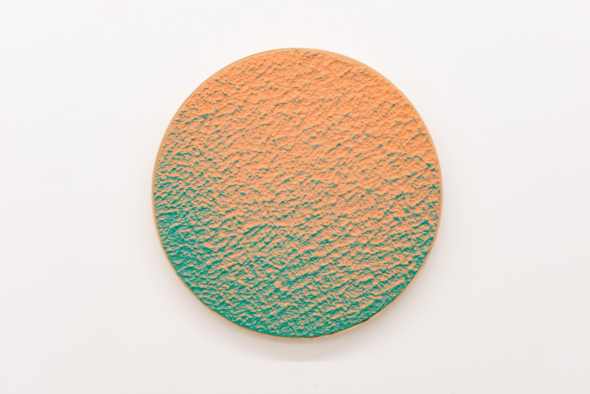 """Pierre Julien,  In the Deepest Oceans  - B012, 2018, stucco, acrylic and spray paint on wood panel, 16"""" diameter (41 cm)"""