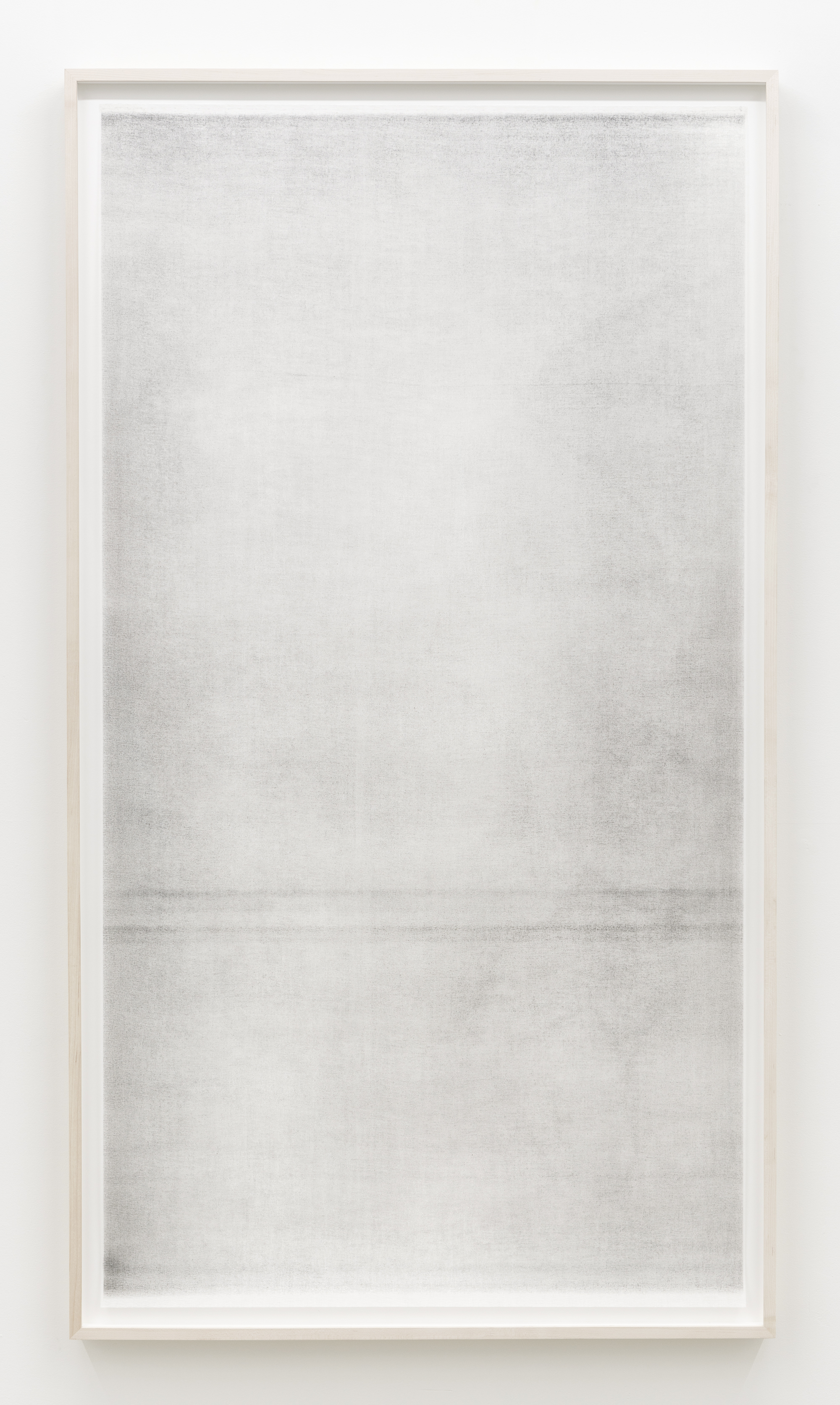 "Jim Verburg,  Untitled (when it settles #4  from the series  A Certain Silence ), 2017, oil, graphite and charcoal on tarlatan, 59"" x 35"" (150 x 89 cm)"