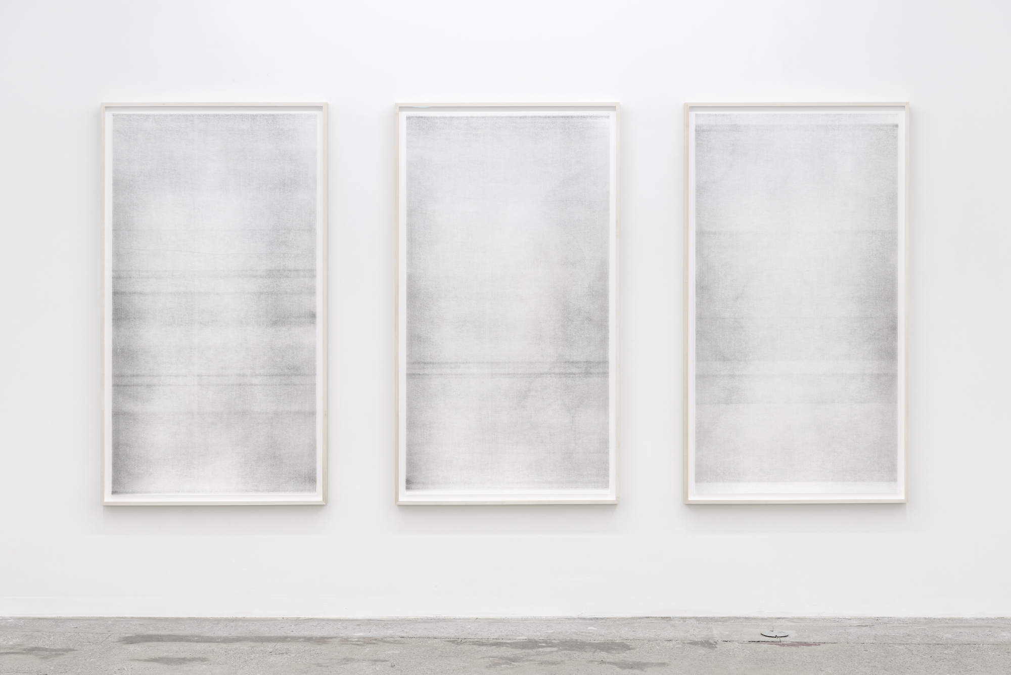 "Jim Verburg,  Untitled (When it settles #3, #4, #5  from the series  A Certain Silence , 2017, oil, graphite and charcoal on tarlatan, 59"" x 35"" (150 x 80 cm) each"