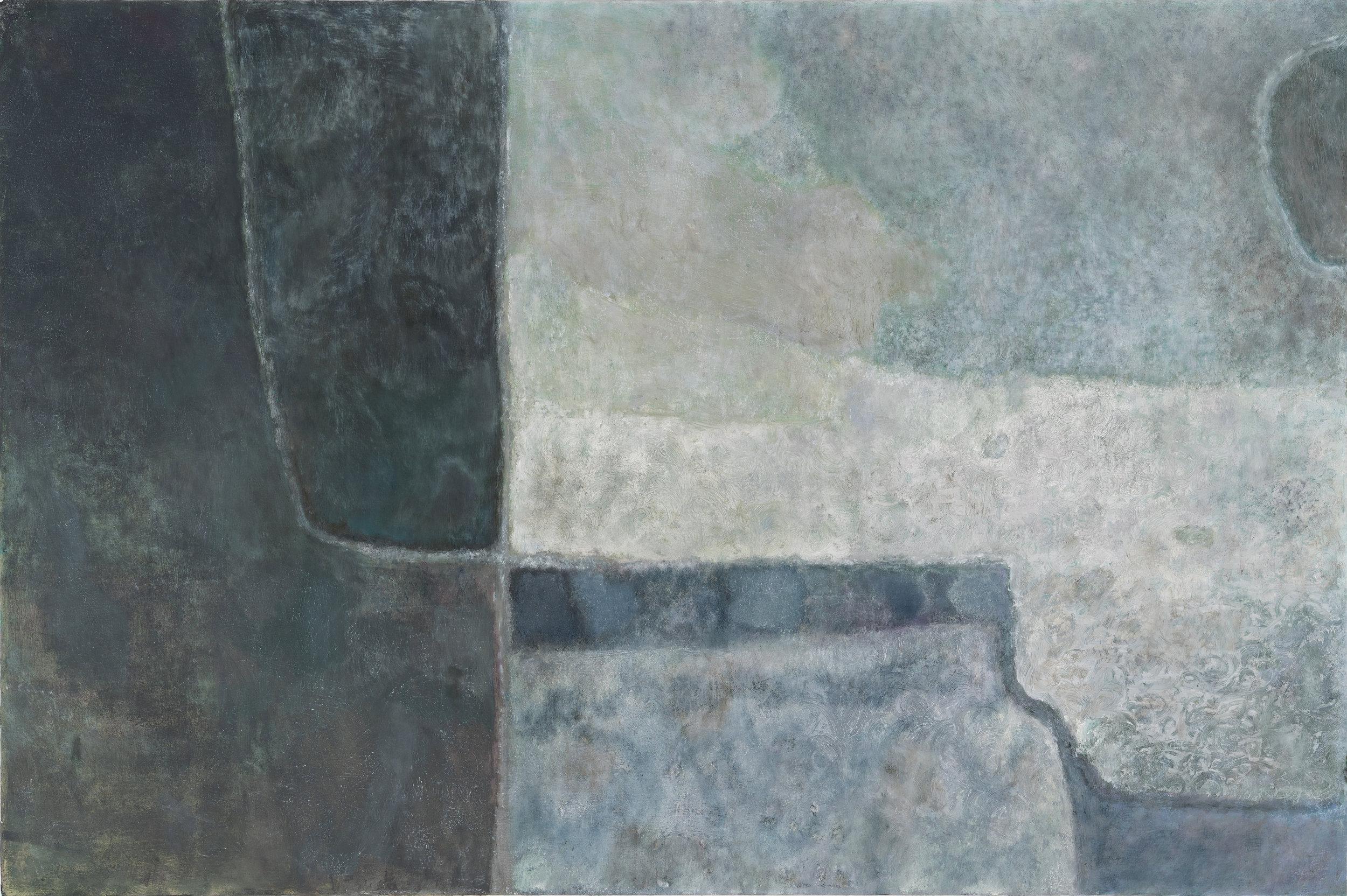"Laurence Pilon,  Secret Meadows (Still) , 2018, oil on wood panel, 24"" x 36"" (61 x 92 cm)"