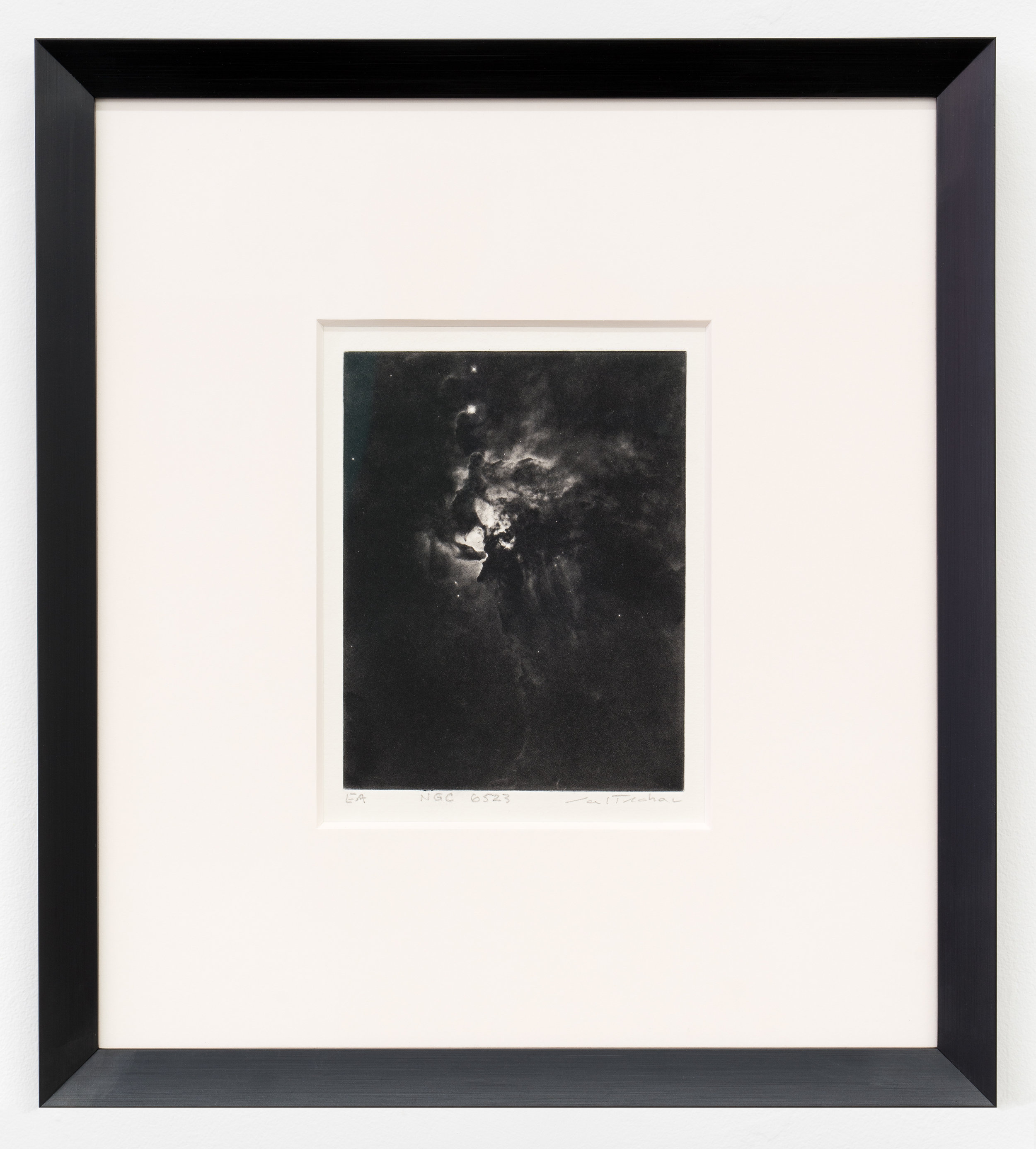 """Carl Trahan,  NGC 6523 , edition of 4,   2018, etching on paper, printed by Maria Chronopoulos, 10"""" x 8.5"""" (26 x 22 cm)"""