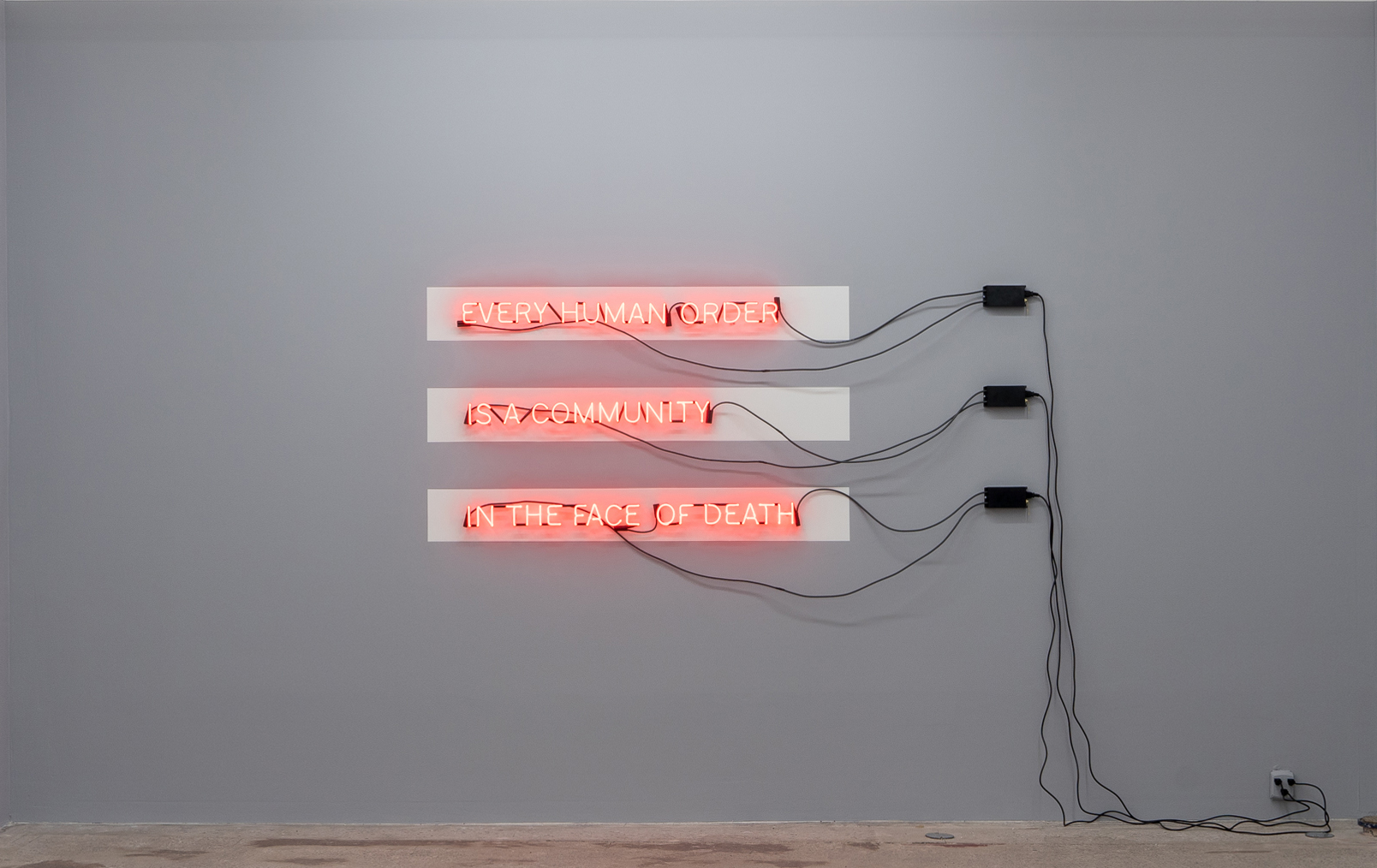 Carl Trahan,  In the Face of Death,  2018, neon sign, transformers, painting, variable dimensions.