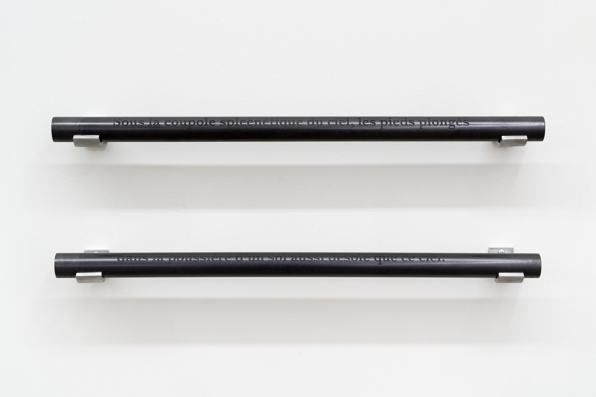 """Carl Trahan,  Sous la coupole spleenétique,  2018, engraved graphite rods and aluminum, 8"""" 24"""" x 3"""" (20 x 61 x 7 cm)"""