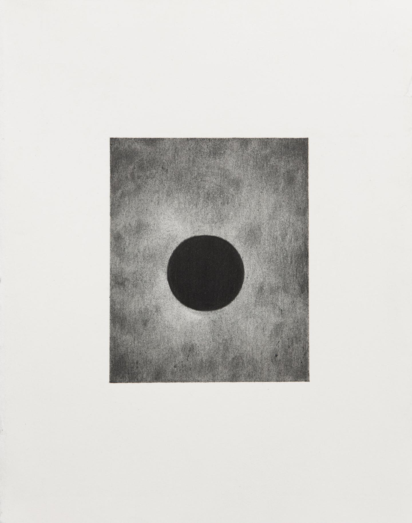 "Carl Trahan,  O   1,  2018, graphite on paper, 5"" x 4"" (12 x 10 cm)"
