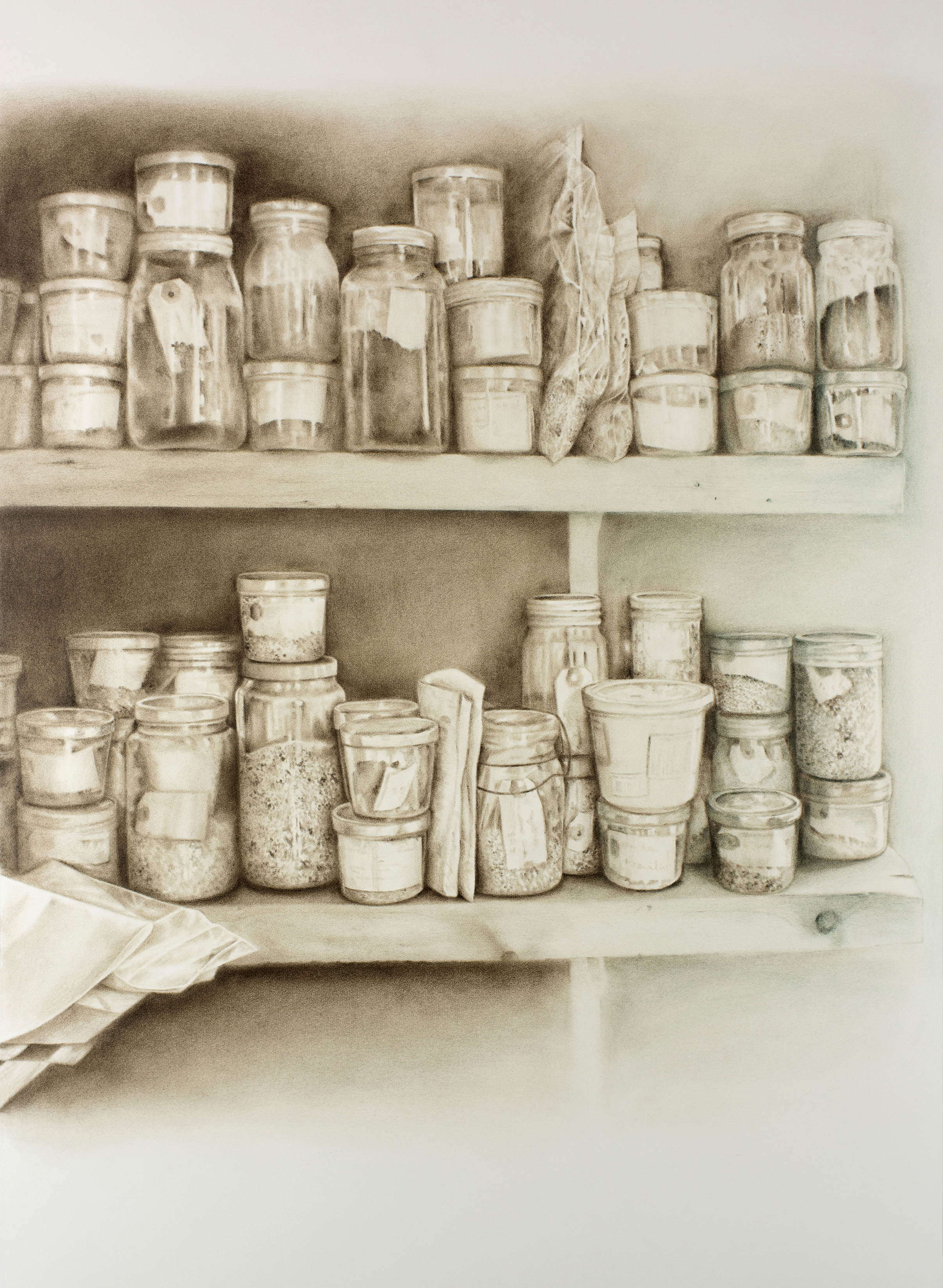 """Andréanne Godin,  La graineterie,  from the series  207 rang de l'Embarras , 2018, dry pigments on Arches paper, 42"""" x 31"""" (107 x 79 cm)"""