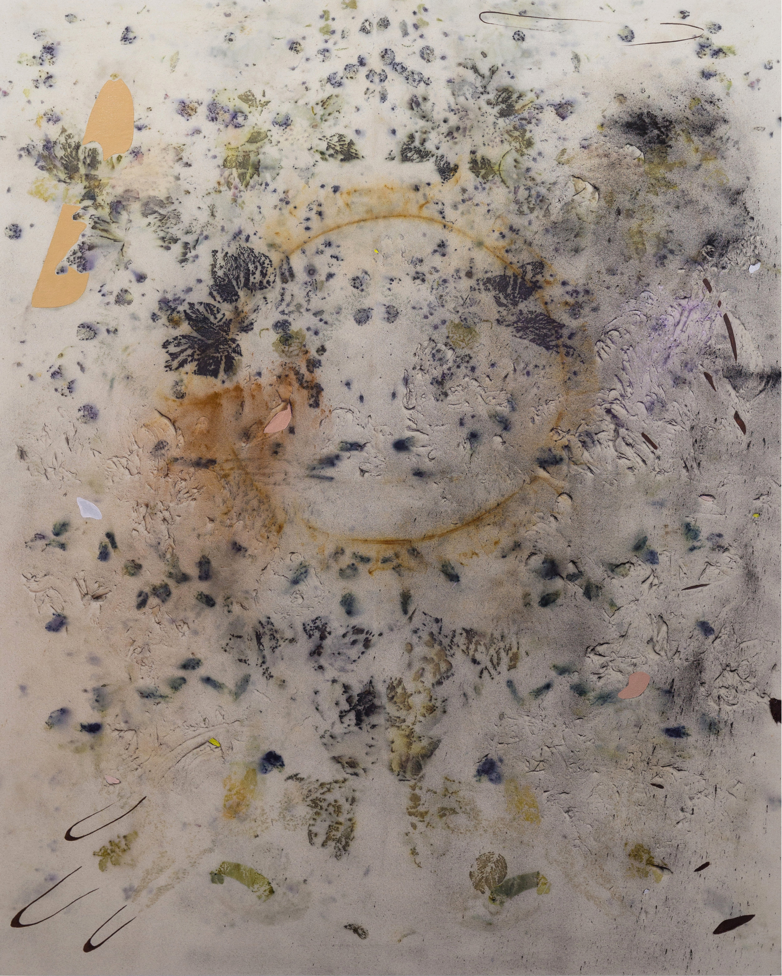 """Gillian King,  Red Osier Armor , 2018, cold wax medium, oil, raw pigments and various plant material on canvas, 60"""" x 48"""" (154 x 122 cm)"""