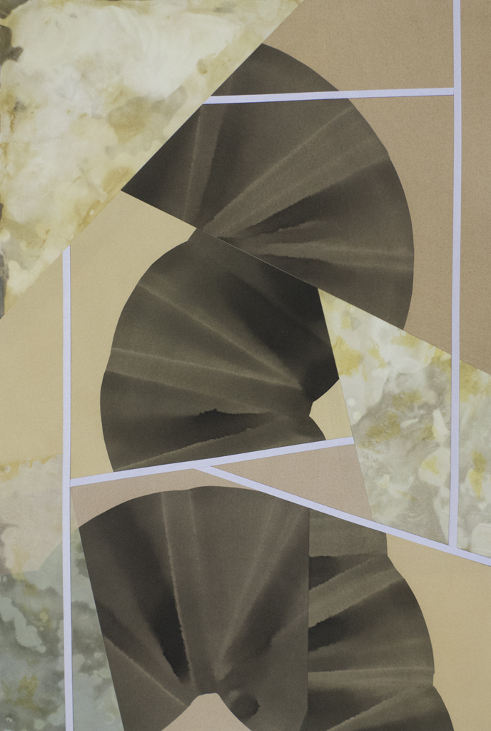 """Simone Rochon,  Tangram Palace no.4 , 2018, collage, acrylic ink on Arches and Yupo paper, 41"""" x 30"""" (104 x 76 cm)"""