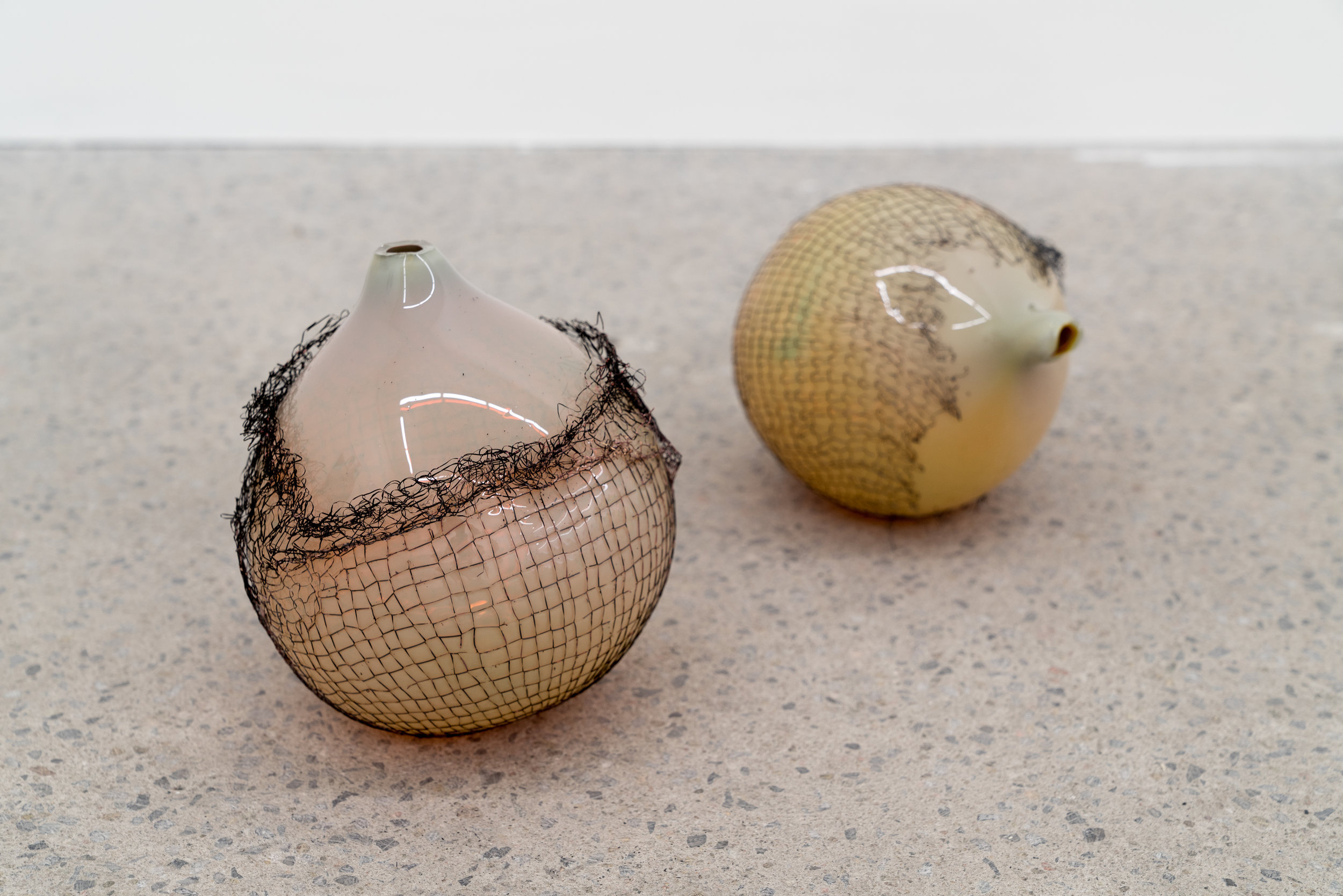 Lorna Bauer,  The Idlers (detail) , 2018, glown glass and copper mesh, variable dimensions