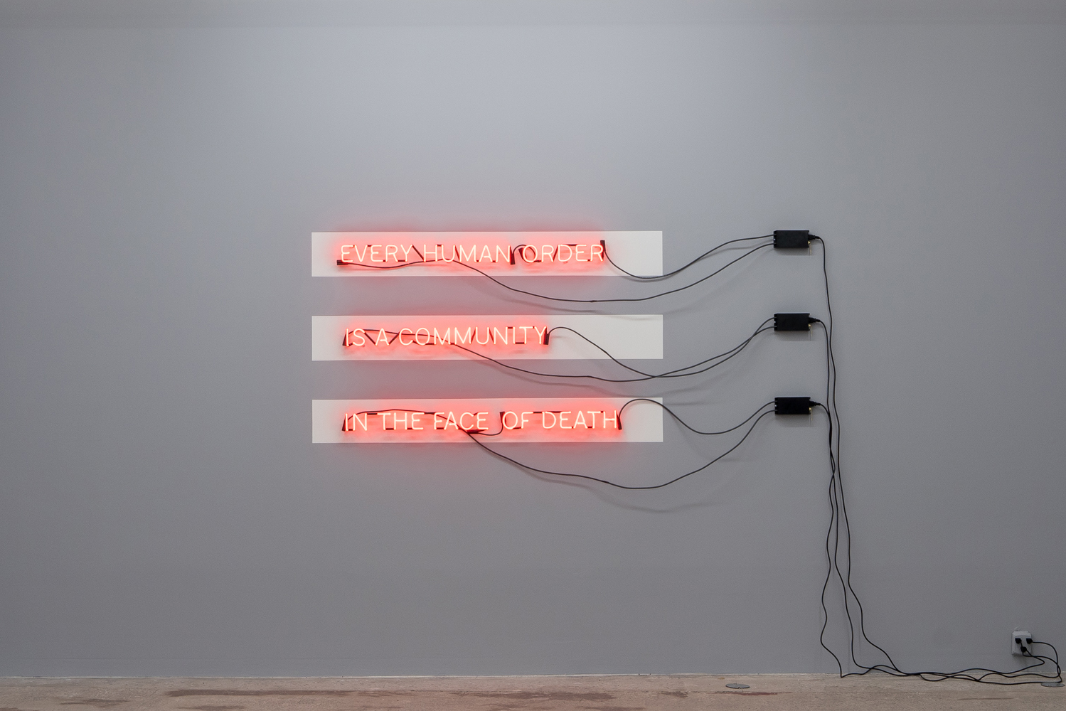Carl Trahan, In the Face of Death, 2018, neon, electric system and paint, variable dimensions