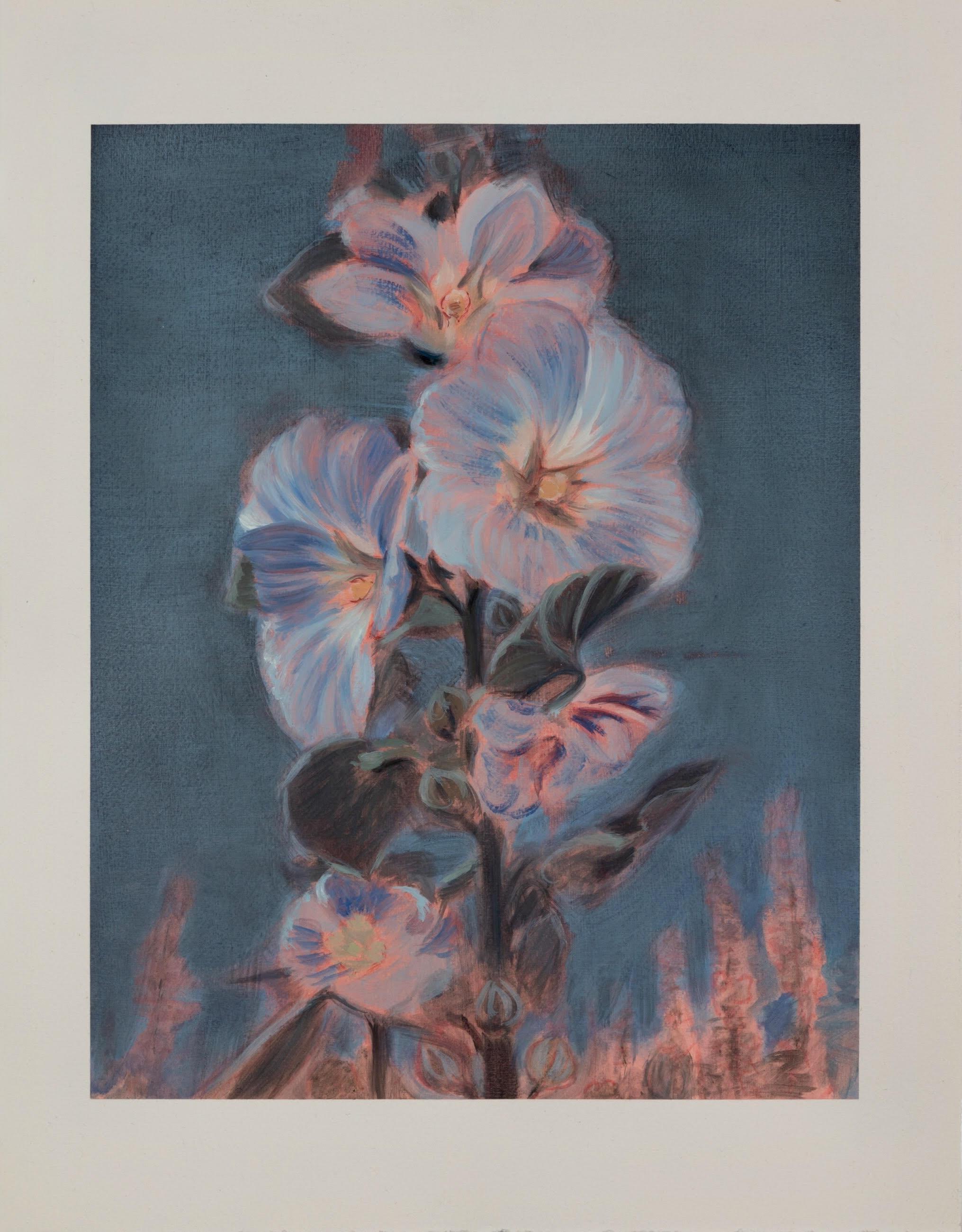 "Kris Knight,  Hollyhocks , 2016, oil on prepared cotton paper, 18"" x 14"" (46 x 35 cm)"