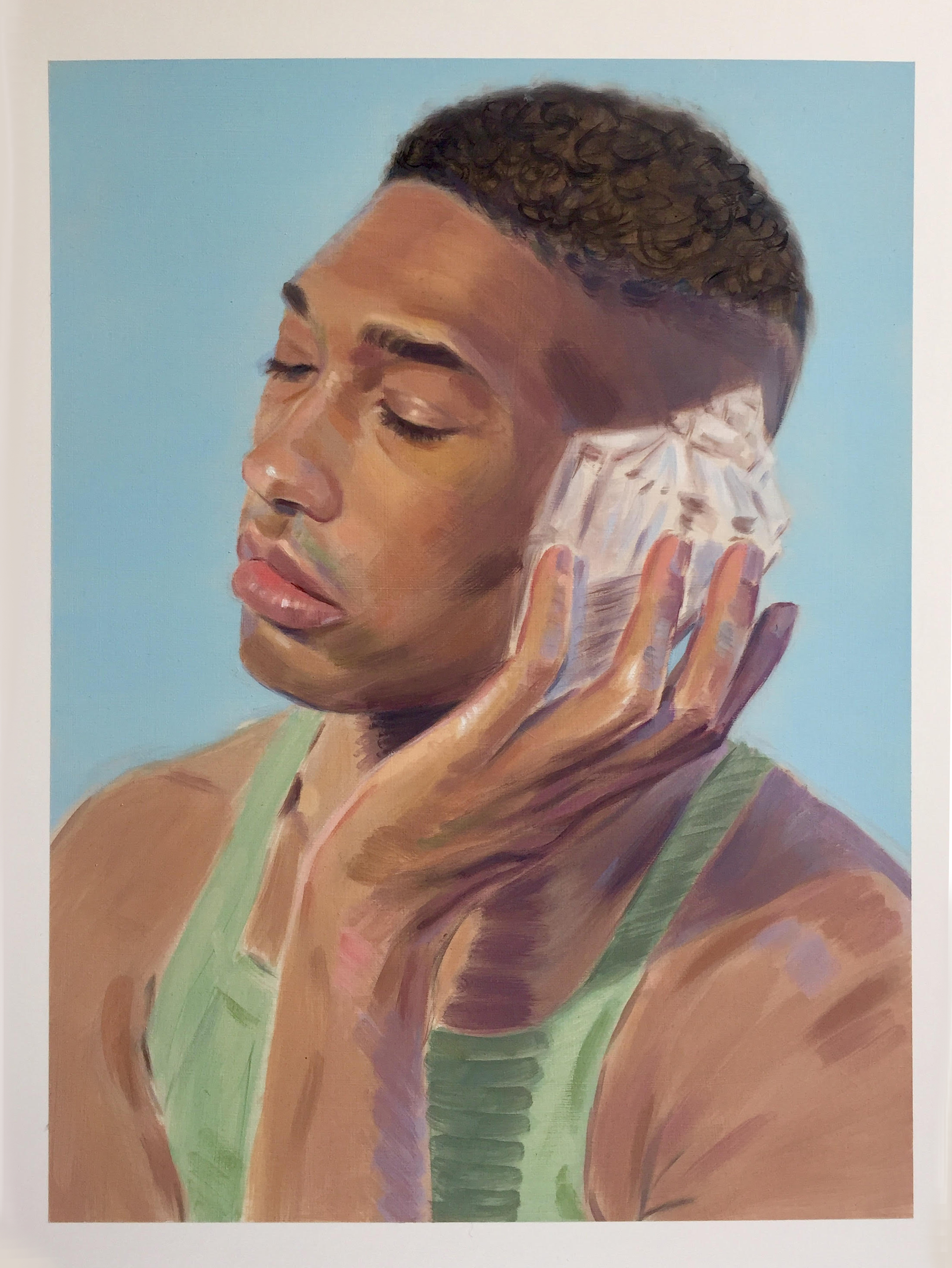 """Kris Knight,  The Shell Collector , 2019, oil on prepared cotton paper, 18"""" x 14"""" (46 x 35 cm)"""