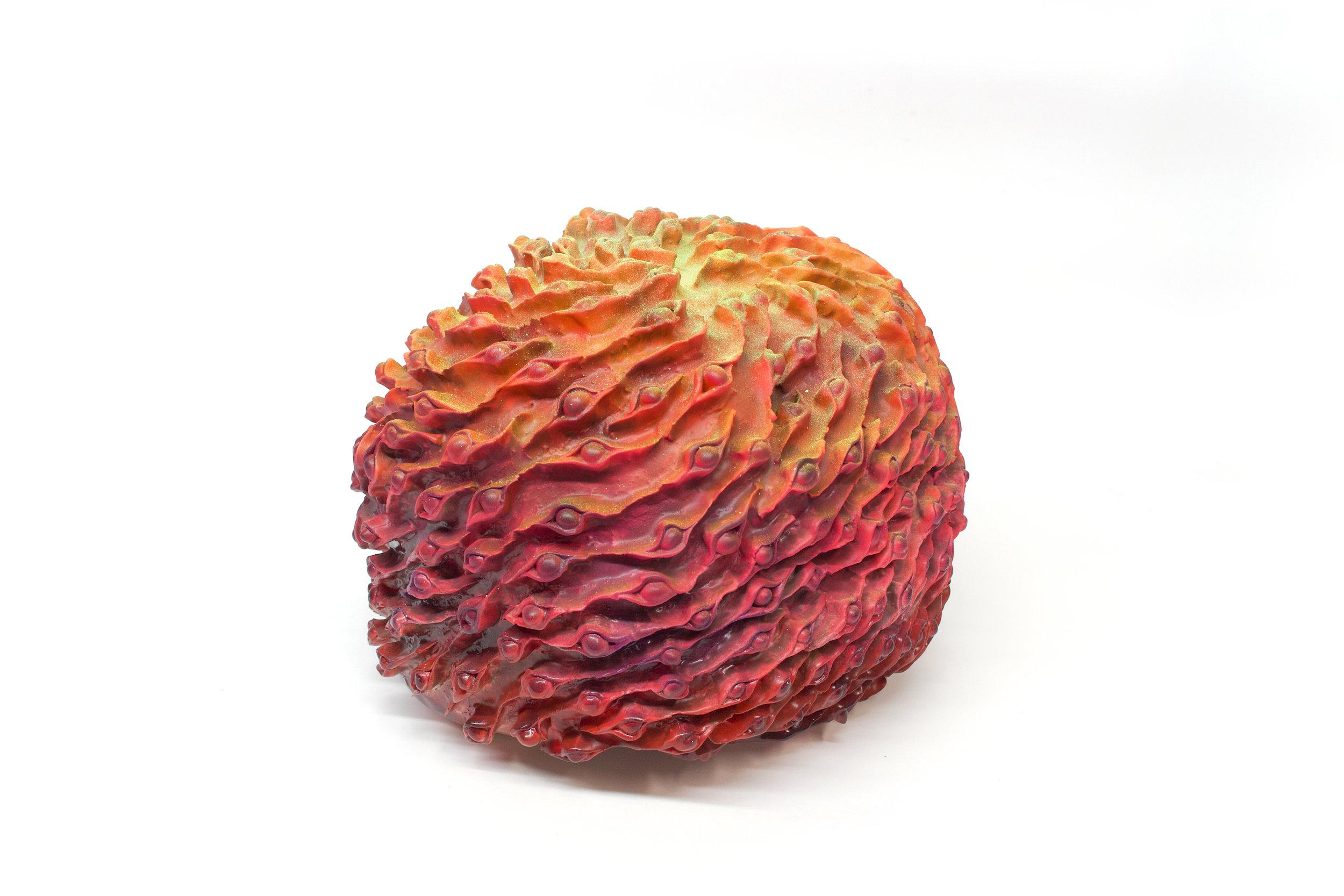 "Philippe Caron Lefebvre,  Maëltrom  2019, ceramic, glaze and paint, 31 x 36 x 36 cm (12"" x 14"" x 14"")"