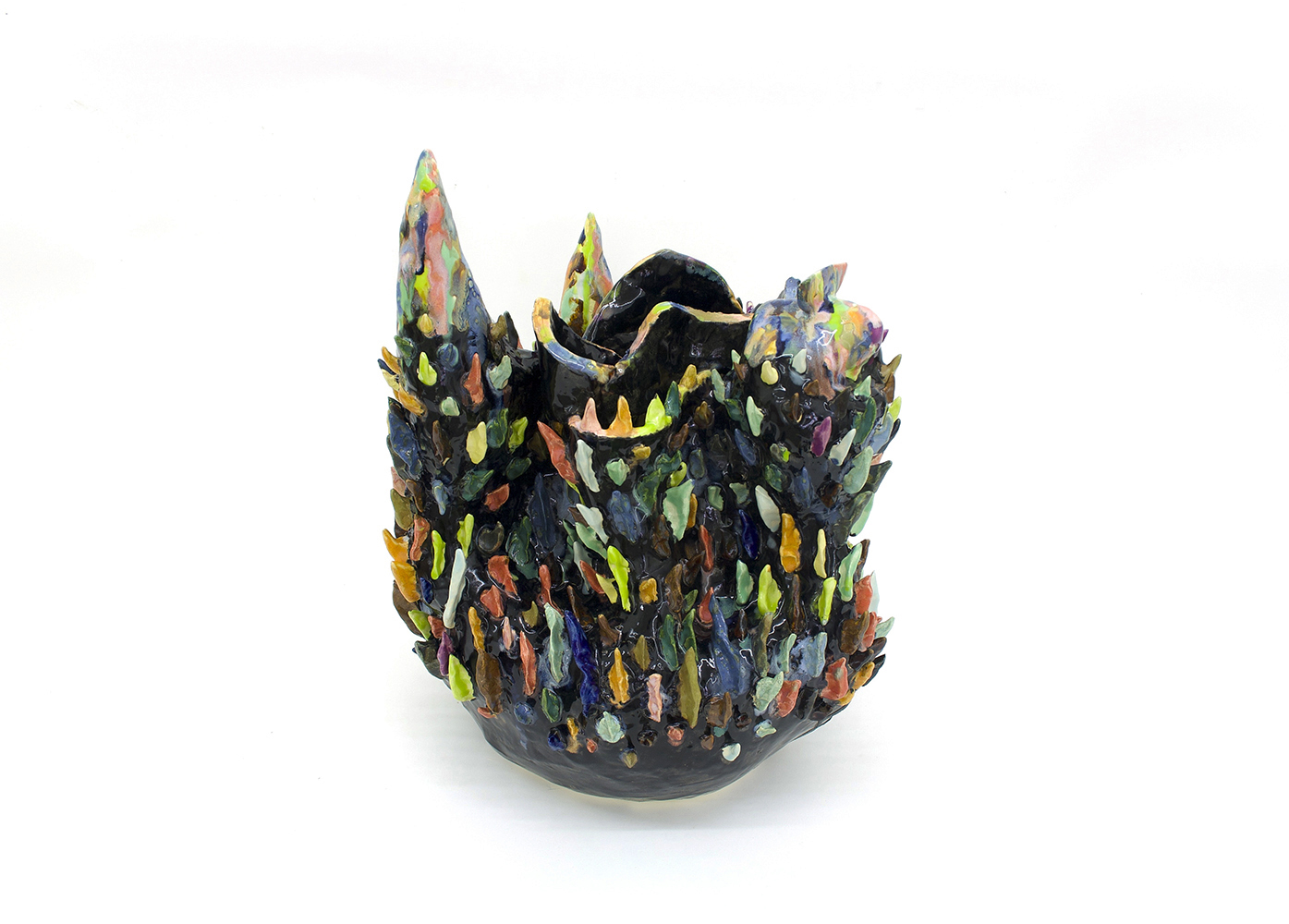 "Philippe Caron Lefebvre,  Château à pointes , 2019, ceramic and glaze, 43 x 33 x 33 cm (18"" x 13"" x 13"")"