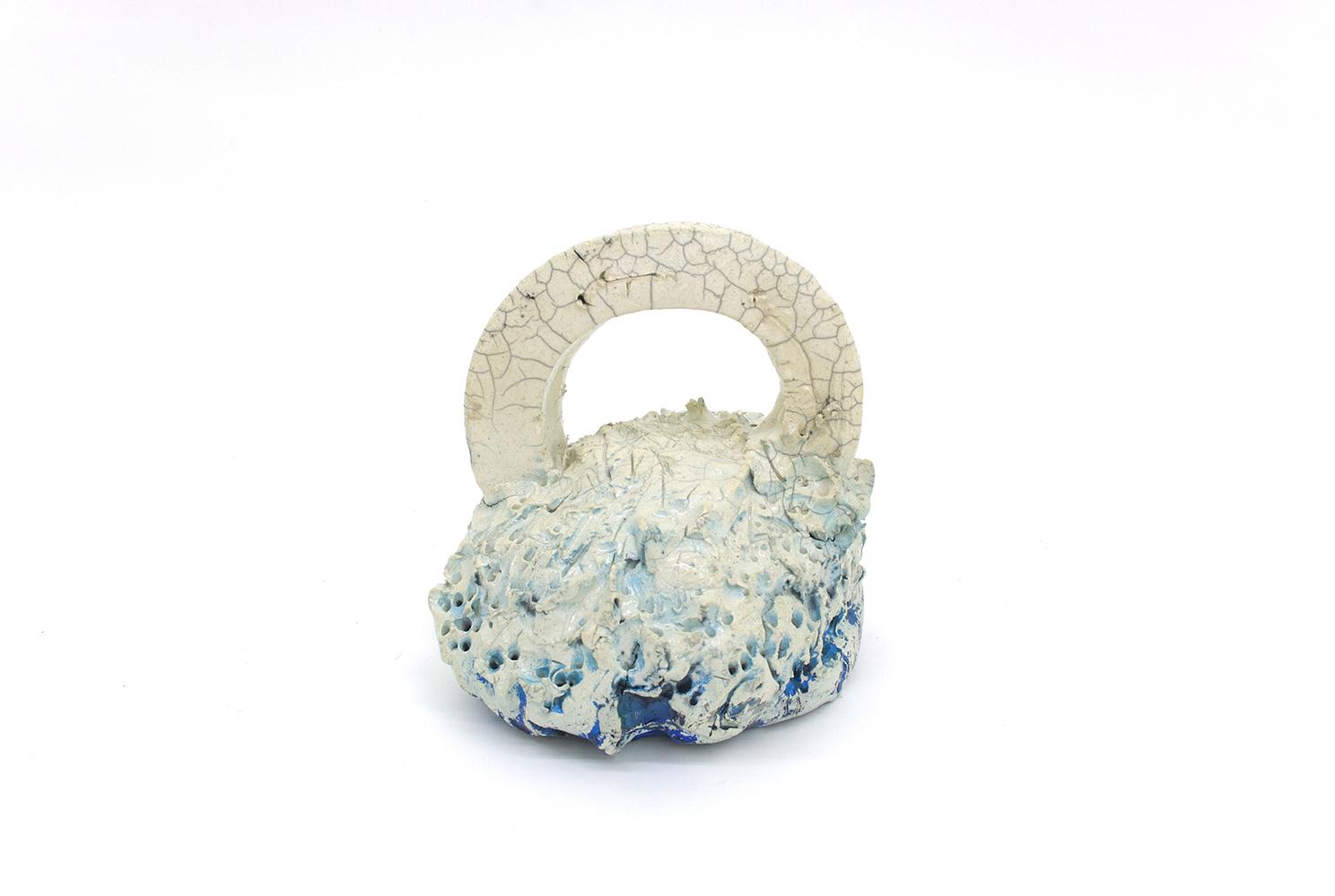 """Philippe Caron Lefebvre,  Théière sans bec , 2018-2019, ceramic, glaze and paint, 23 x 20 x 20 cm (8"""" x 9"""" x 9"""")"""