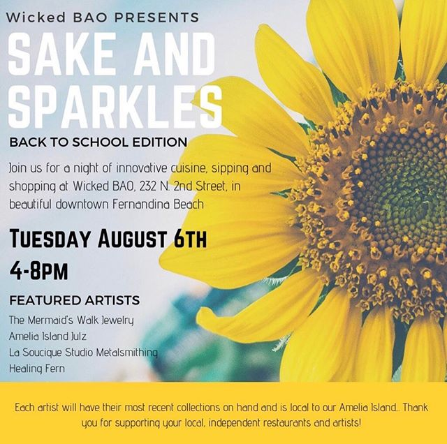 Local artisans, sake, amazing food and great friends @wickedbao Come shop and sparkle with us!!😀💚🥂🌿 Tuesday AUG. 6th✨4-8pm✨ • • • • • • • #healingfern #consciouslycrafted #botanicallyinspired #shoplocal #ameliaisland #artisanalgoods #hydrosol #plantmedicine #livewithintention #womensupportingotherwomen #wellness #cleanliving