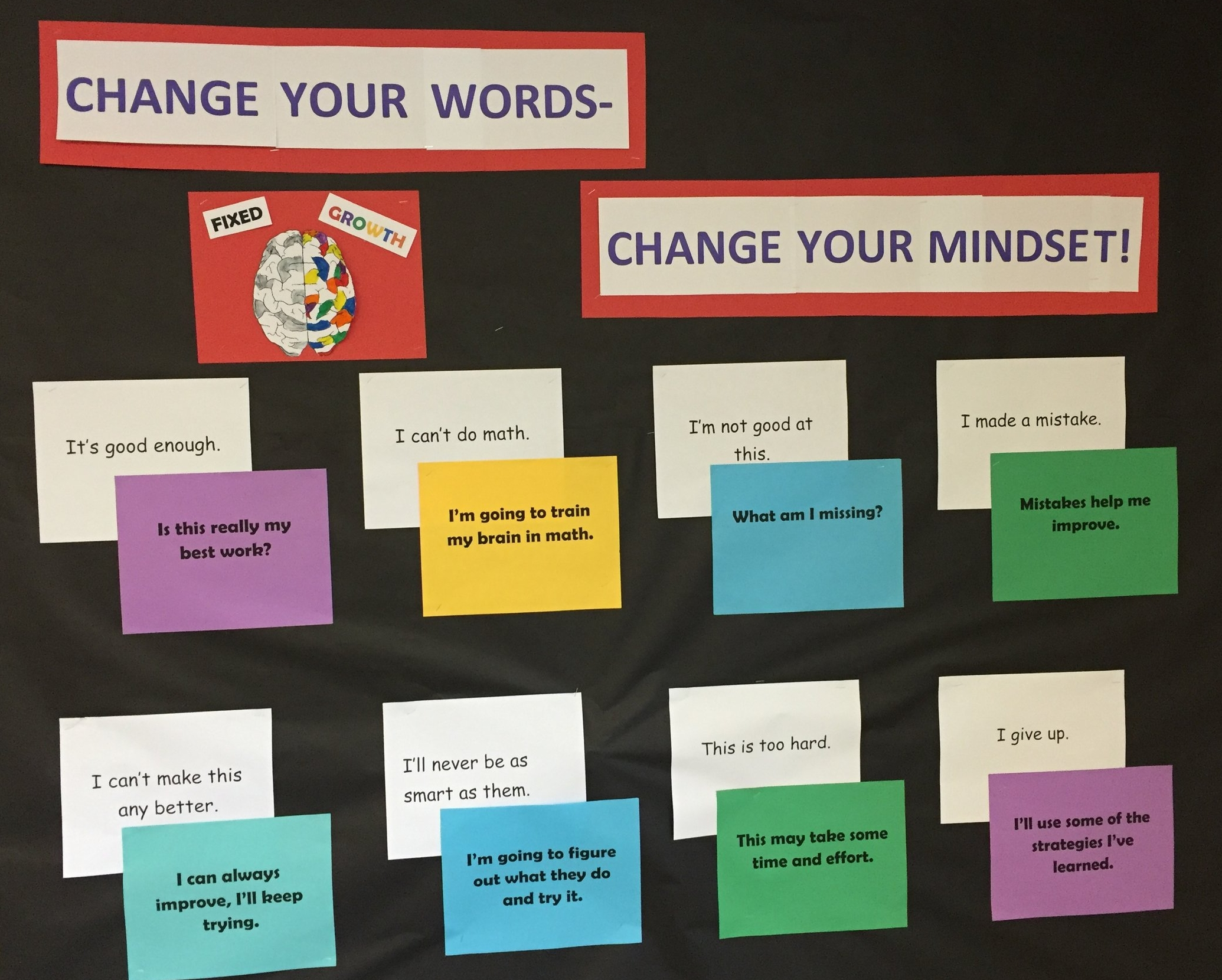 A bulletin board at Ralston Middle School promotes the power of self-talk in cultivating a growth mindset.