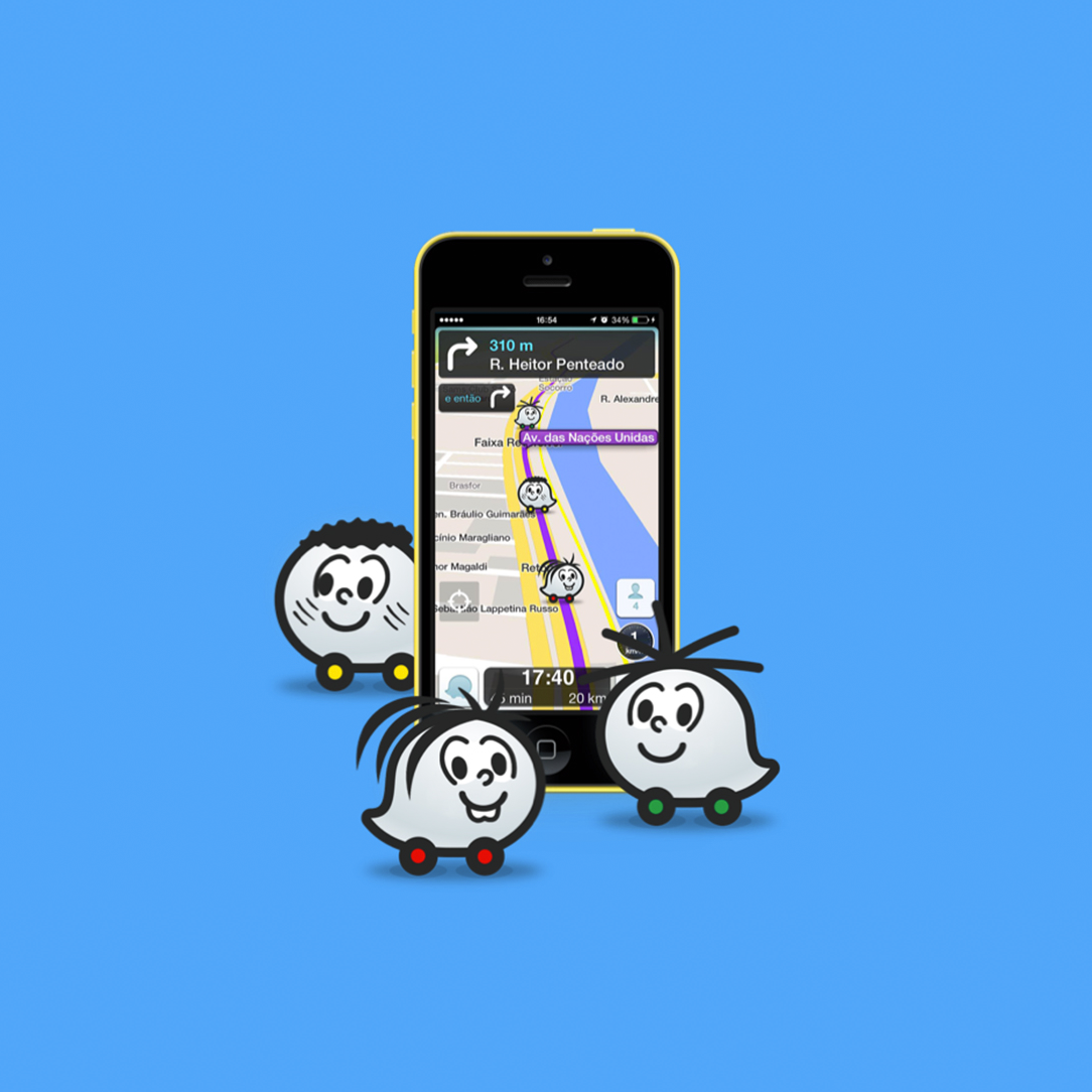 Mônica no Waze - Para o lançamento do novo Parque da Mônica em São Paulo criamos novas skins dos personagens da Turma da Mônica para o aplicativo Waze. A voz da narração do GPS também poderia ser modificada para a voz da Mônica.