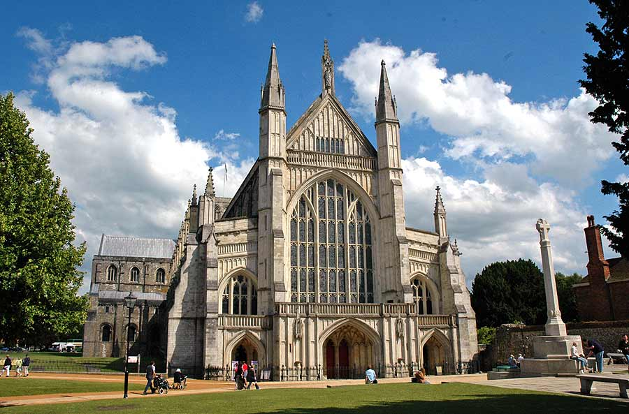 Winchester Cathedral, built between 1079 and 1532, in the ancient city of Winchester, Hampshire, UK