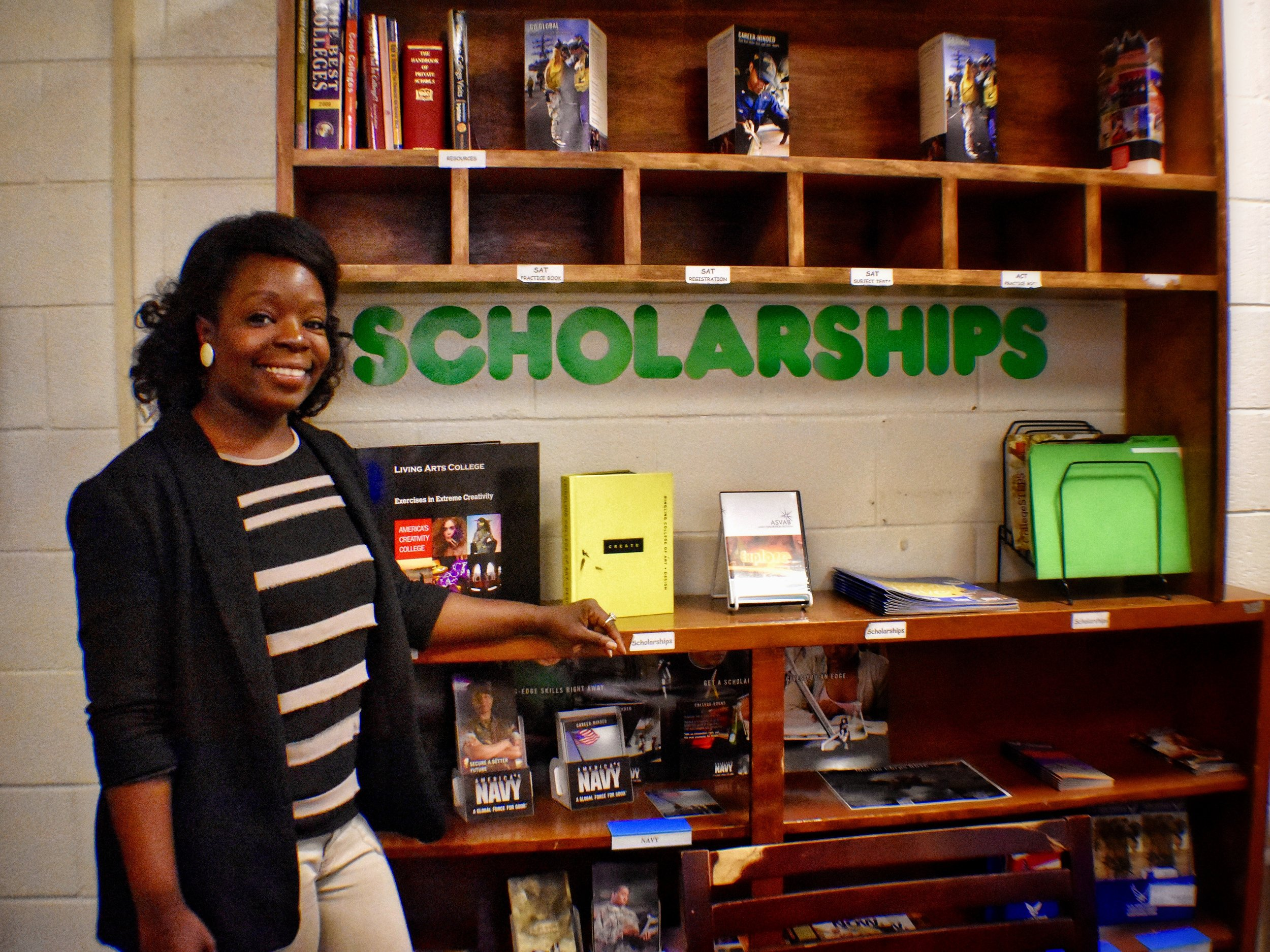 Ms. Jeanene McBride stands in the Counseling Office at Kinston High School.
