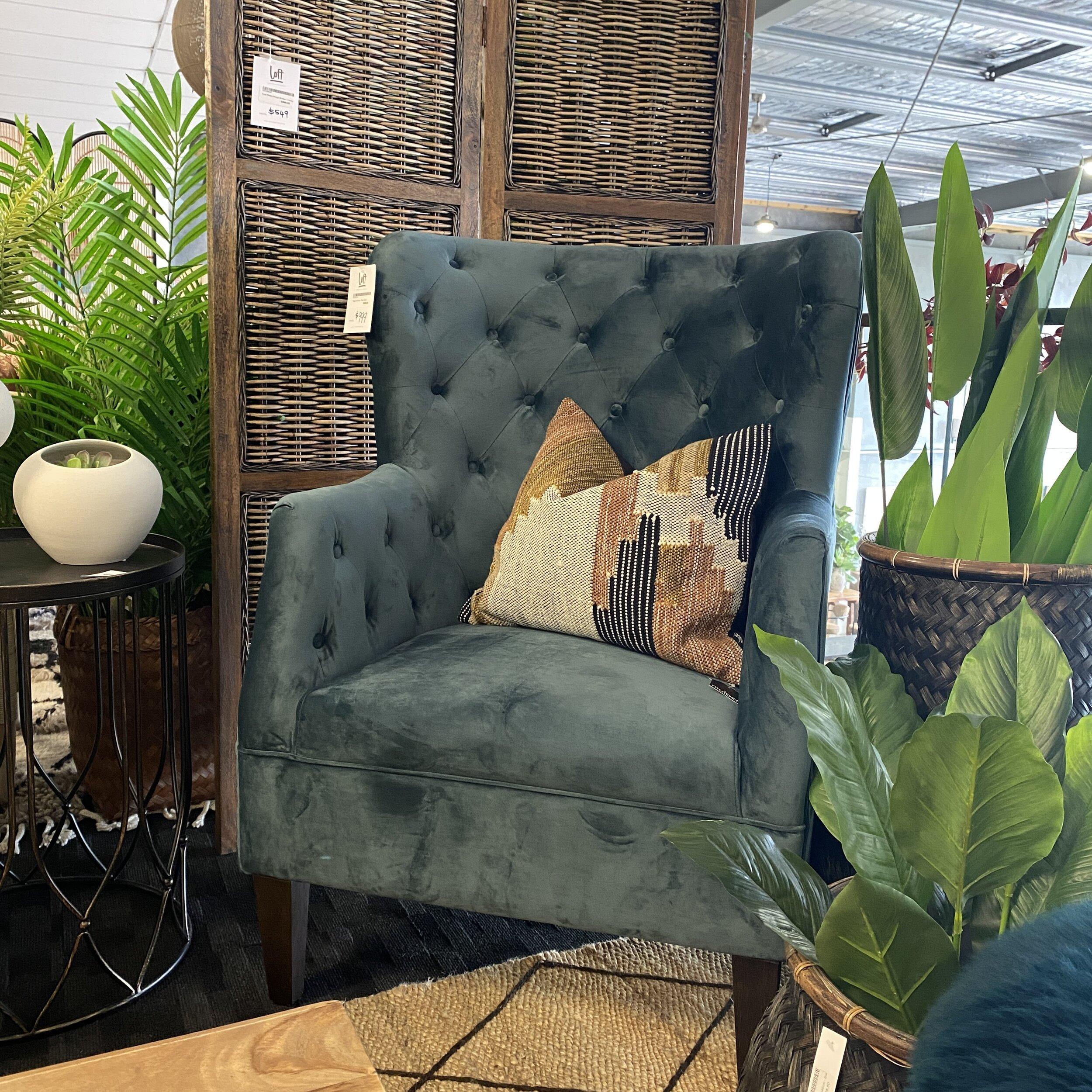 Regal Velvet Armchair Teal Loft Furniture New Zealand