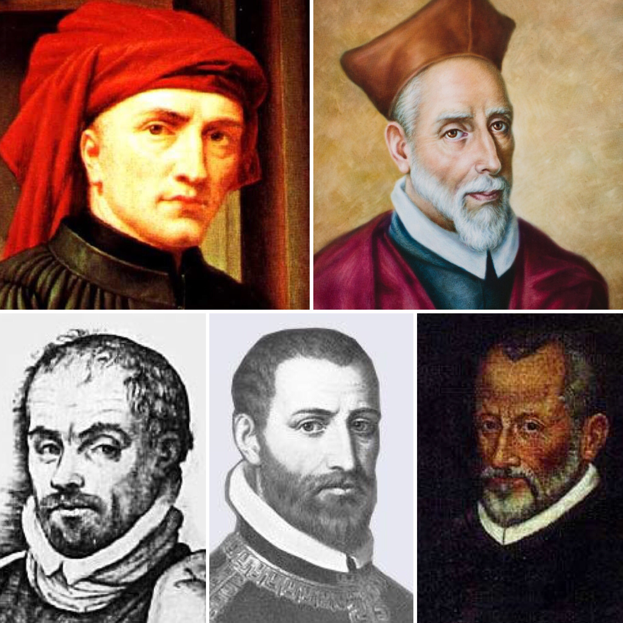 Some of the composers featured on the 'War and Peace' tour programme by The Tallis Scholars. Clockwise from top left: Josquin des Prez (c.1450/55-1521), Francisco Guerrero (1528-1599), Giovanni Pierluigi da Palestrina (1525-1594), Tomás Luis de Victoria (c.1548-1611), Alonso Lobo (1555-1617).