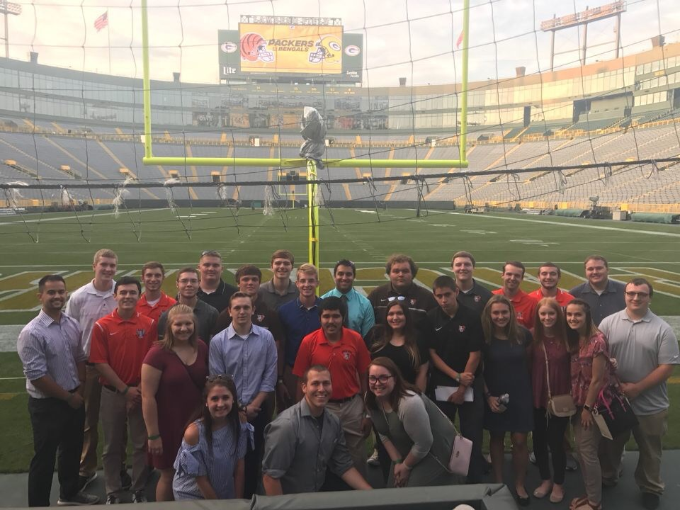 Green Bay/Milwaukee, WI - SMA kicked off the 2017-18 academic year with a two-day networking trip to Green Bay and Milwaukee. They toured the legendary Lambeau Field, met with front office personnel from the Green Bay Packers, and attended a Brewers game. This was SMA's largest group taken for a networking event of this scale, taking 27 members.