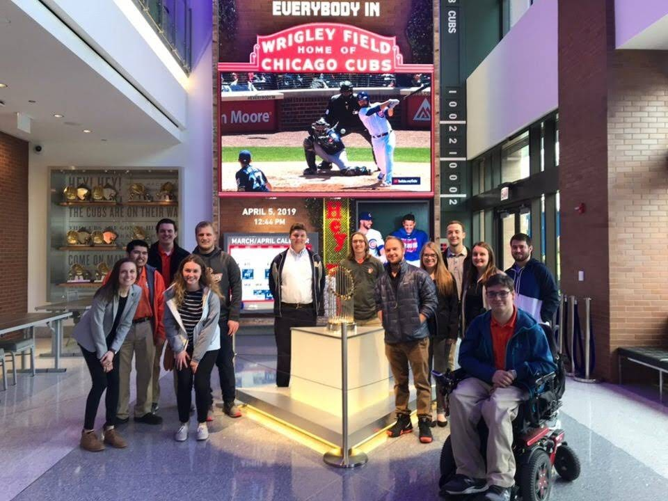 Chicago, IL - For the Spring 2019 networking trip, SMA took 15 members to Chicago. They met with an executive from the Chicago Cubs, took a tour of Northwestern University's athletic training facility with facility operators and met with front office personnel for the Chicago Wolves before attending one of their games.