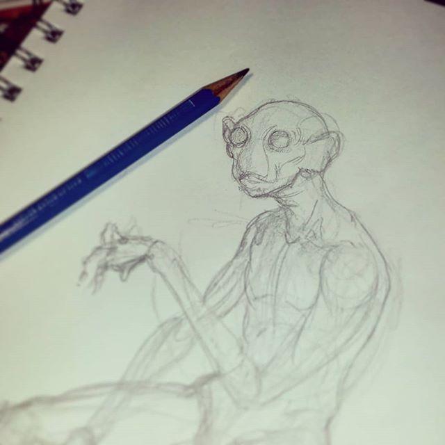 """J'ai beau vouloir dessiner quelque chose de doux et resplendissant, je n'y arrive pas...snif Comme Goya a si bien dit: """"Le sommeil de la raison engendre des monstres."""" Et bien Je suis voué à dessiner que des créatures viles et décharnées de beauté on dirait bien.  À suivre... #creature #creatures #darkart #fantasy #fantasyart #horror #artistfrommontreal #monster #ttrpg #creatureart #horrorart #horror_sketches #macabre #sketch #sketch_daily #sketchy #sketches #nightmare #ghoul #evil #demon #monsterart #creaturedesign #fantasycreature #mythicalcreature #creaturedrawing #curse #art"""