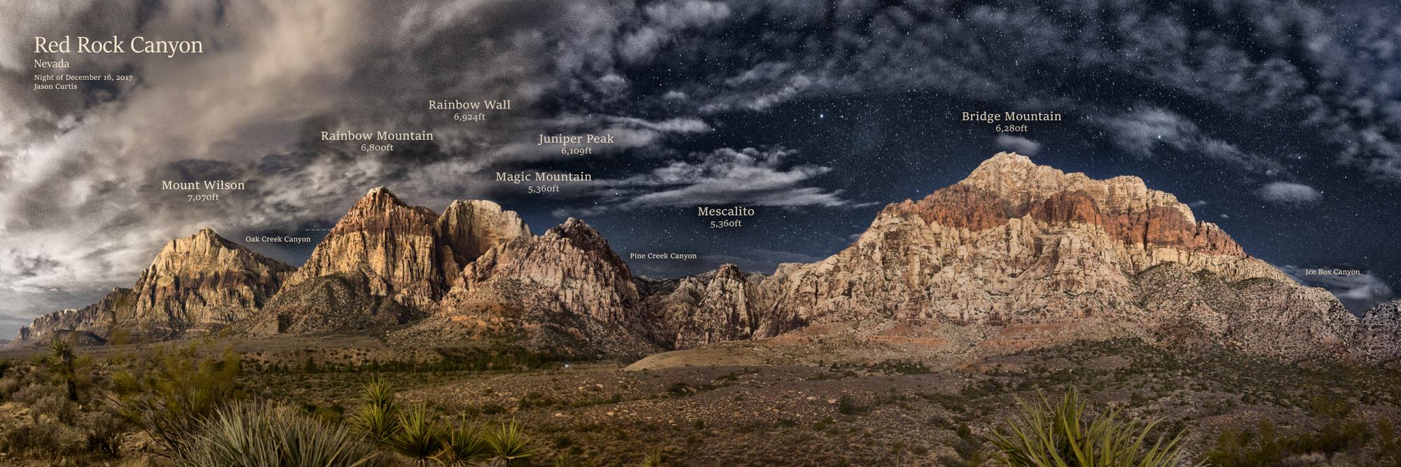 red rock canyon peak map pano
