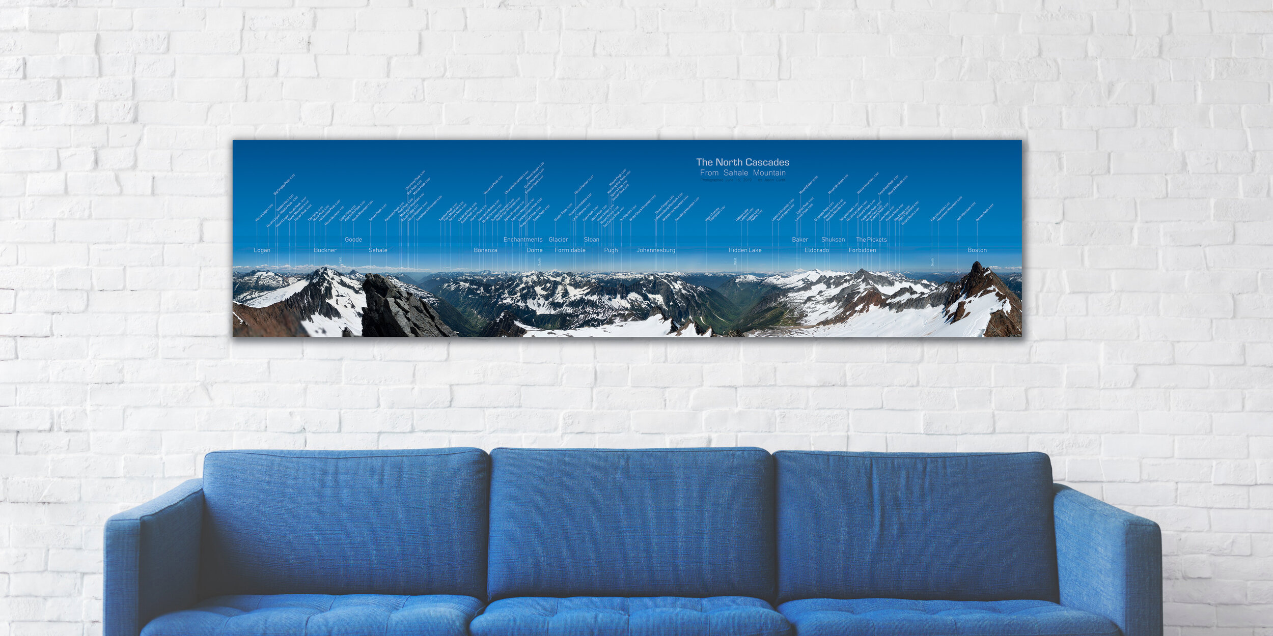 """Mock up of 80"""" x 20"""" float mounted print"""
