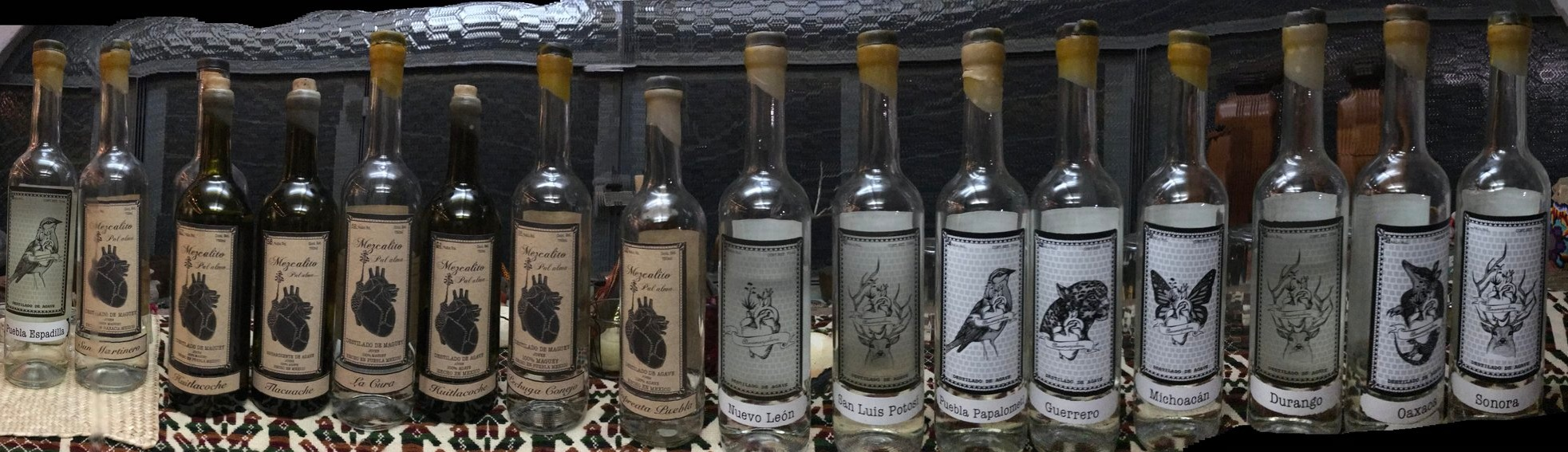Some of the innumerable varieties of mezcal by Almamezcalera in Mexico City.