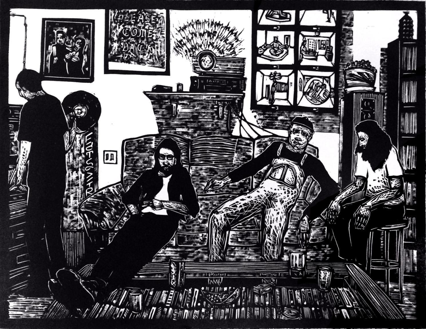 Regulars, 2016, Linoleum