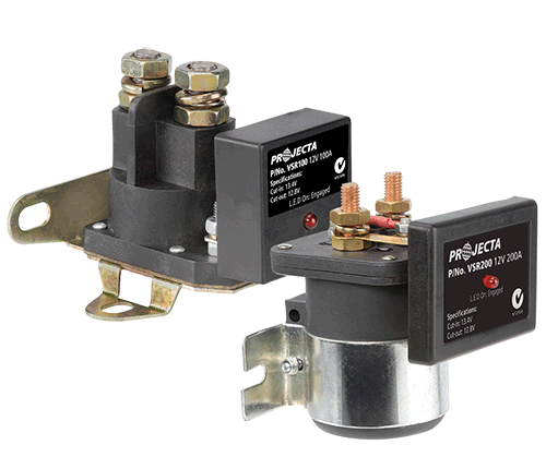 Voltage sensitive relays  Suitable for a wide variety of 12V DC applications, the VSR units sense the input voltage generated and automatically connect/disconnect the appliance or circuit at pre-set voltages. Fully sealed to IP66 and surge protected, the VSR units are ideal for dual battery setups as they enable the batteries to be paralleled for high power usage, eg. jumpstarting or winching.