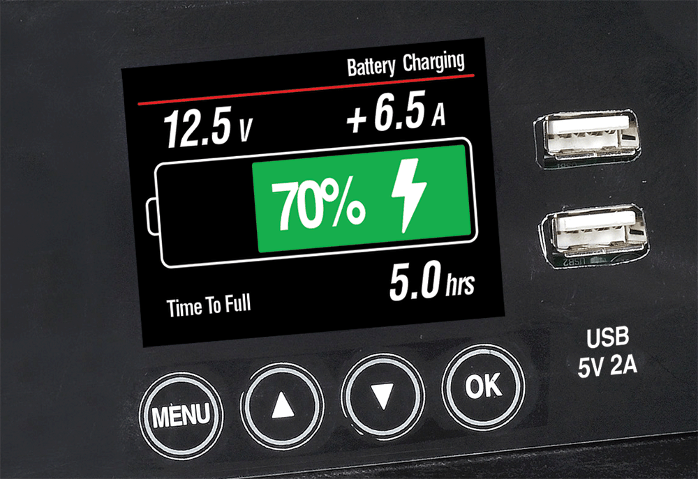"Smart Battery Gauge  2.4"" colour LCD monitor utilises patented 'self-learning' technology to provide comprehensive battery status information"