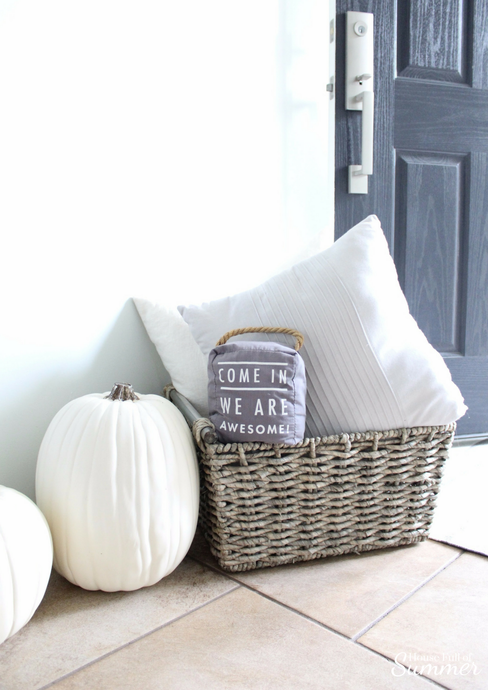 House Full of Summer: Fall Home Tour Blog Hop - Cozy, Coastal, Chic Foyer fall decorating ideas. Neutral interior, white pumpkins, front door decor. Neutral interior, white pumpkins, front door decor.