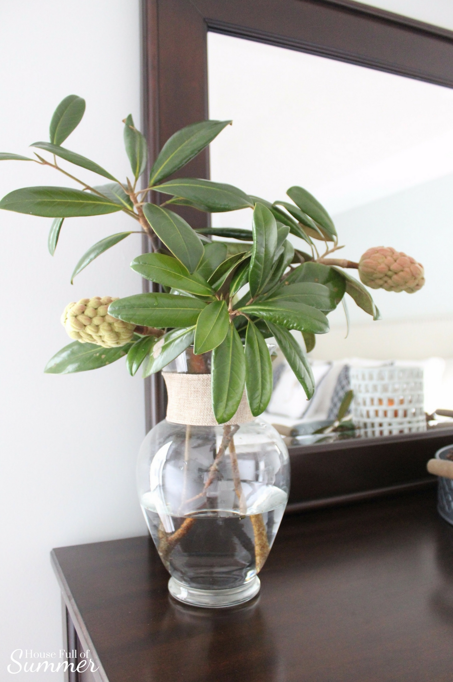House Full of Summer: Fall Home Tour Blog Hop - Cozy, Coastal, Chic Master Bedroom decor,  decorating on a budget,fall decor ideas, coastal bedroom ideas, table styling, fresh trimmings, decorating with greenery, southern charm, magnolia branches