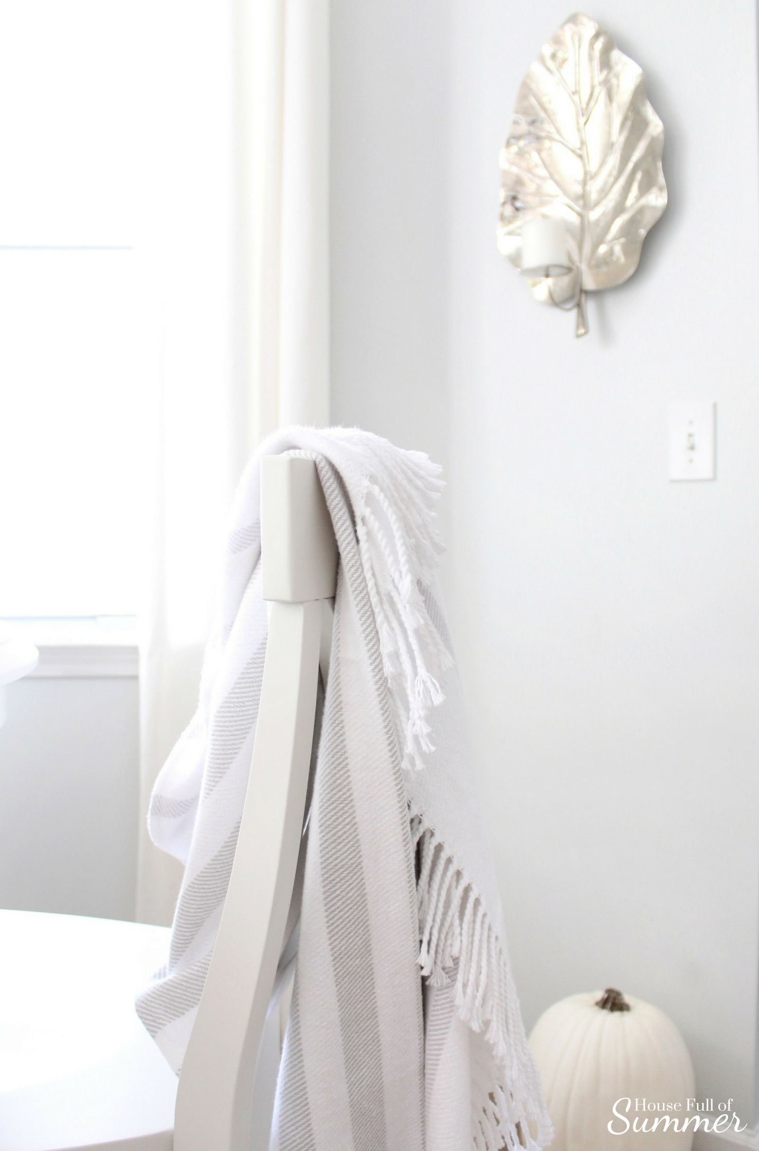 House Full of Summer - Fall Home Tour: Cozy Coastal Chic, Welcoming Fall Blog Hop, gray and white striped throw, grey, fringe