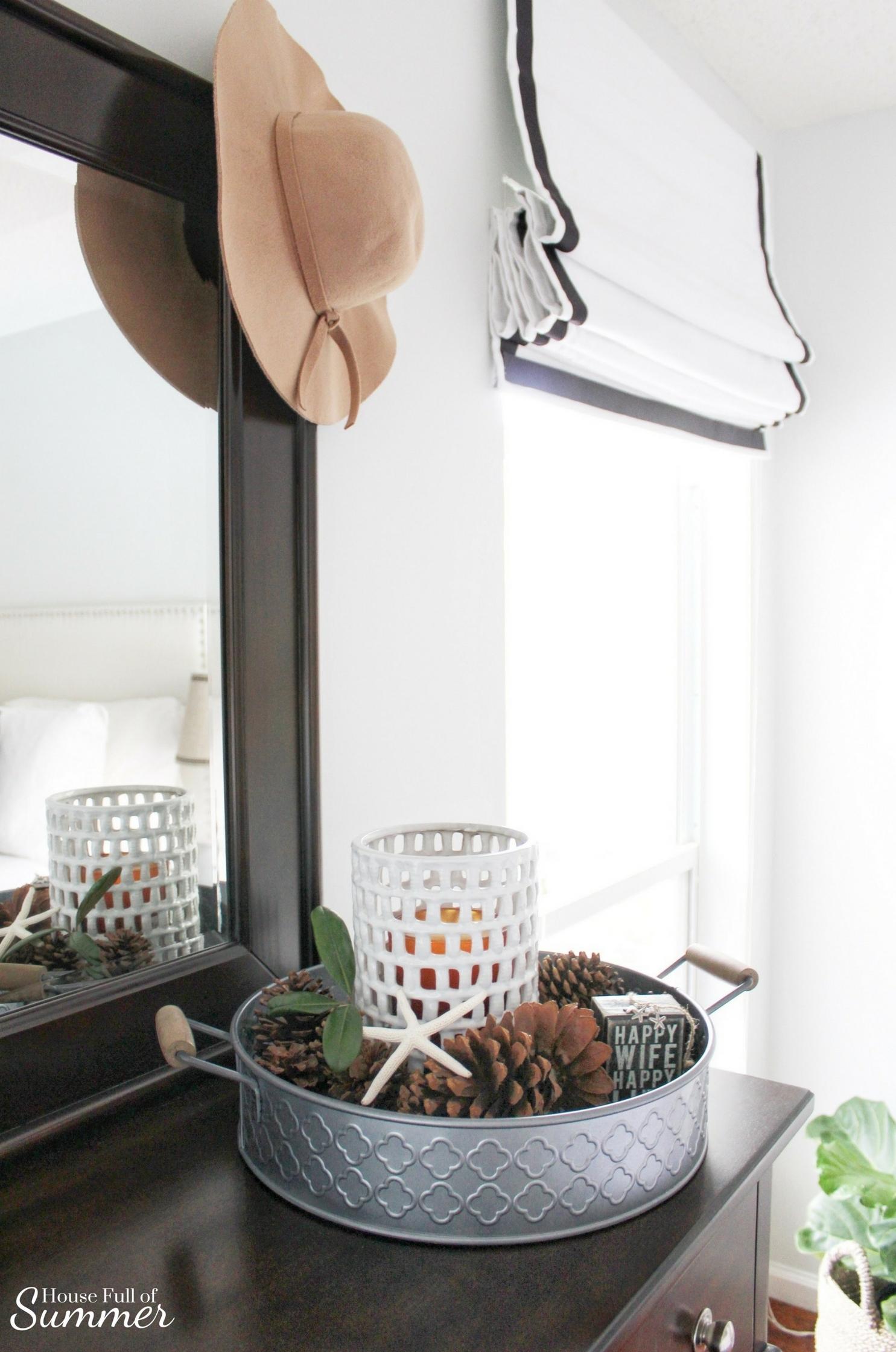 House Full of Summer: Fall Home Tour Blog Hop - Cozy, Coastal, Chic Master Bedroom decor, decorating on a budget,, fall decor ideas, coastal bedroom ideas, tray styling, diy fall decor, roman shades, pottery barn style