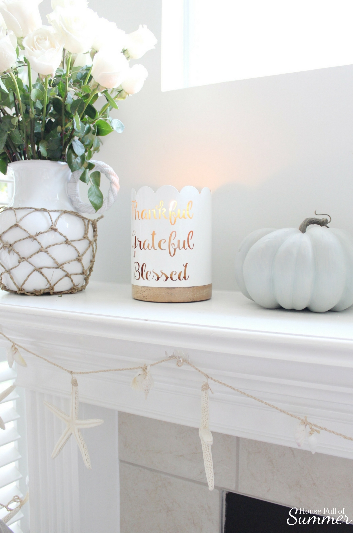 House Full of Summer: Fall Home Tour Blog Hop - Cozy, Coastal, Chic Family Room or Living Room fall decorating ideas, fireplace, neutral interior, white pumpkins, fall mantel ideas, starfish garland, natural decor, thanksgiving ideas