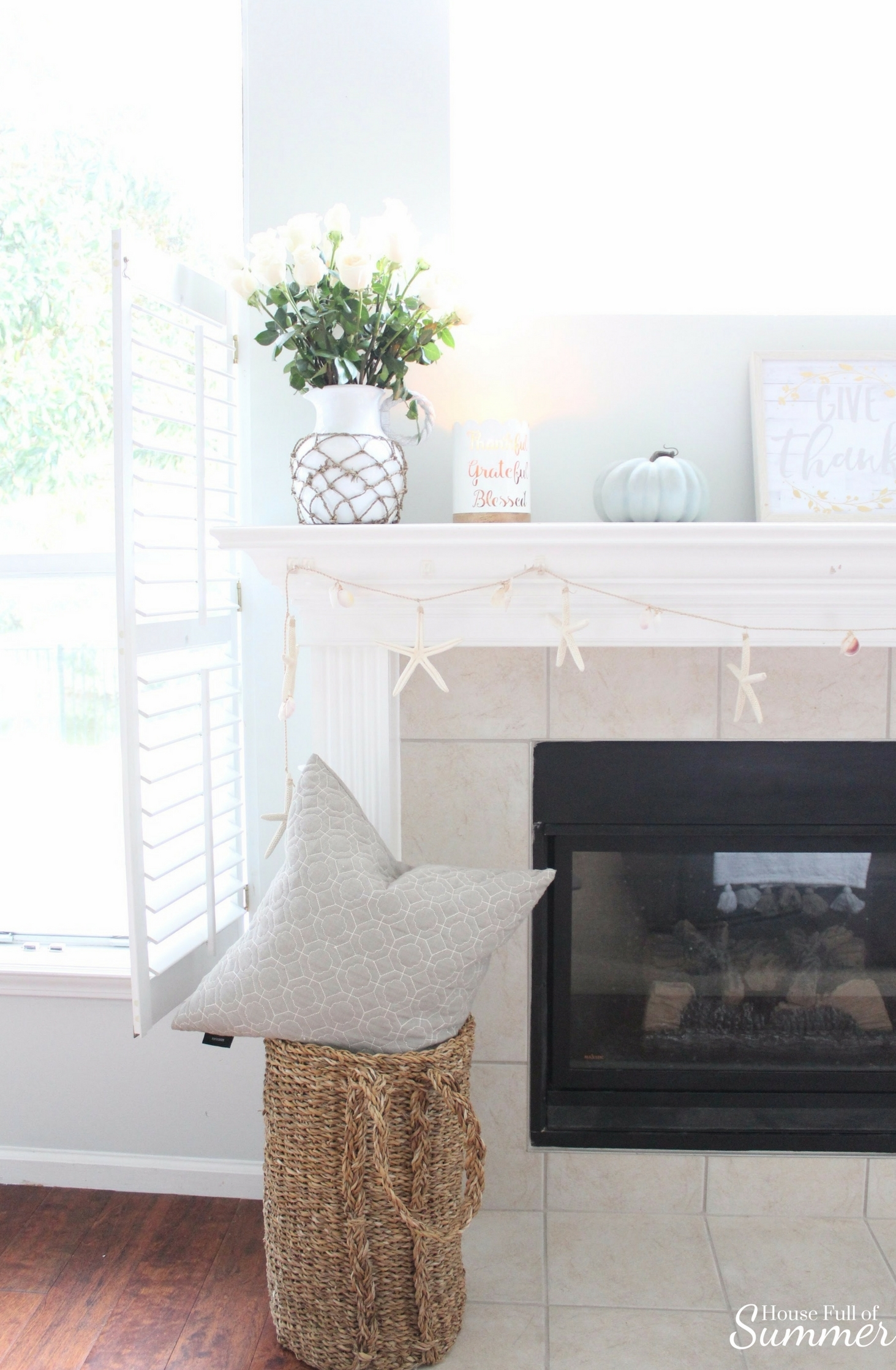 House Full of Summer: Fall Home Tour Blog Hop - Cozy, Coastal, Chic Family Room or Living Room fall decorating ideas, fireplace, neutral interior, white pumpkins, fall mantel ideas, starfish garland, woven basket, decorating ideas