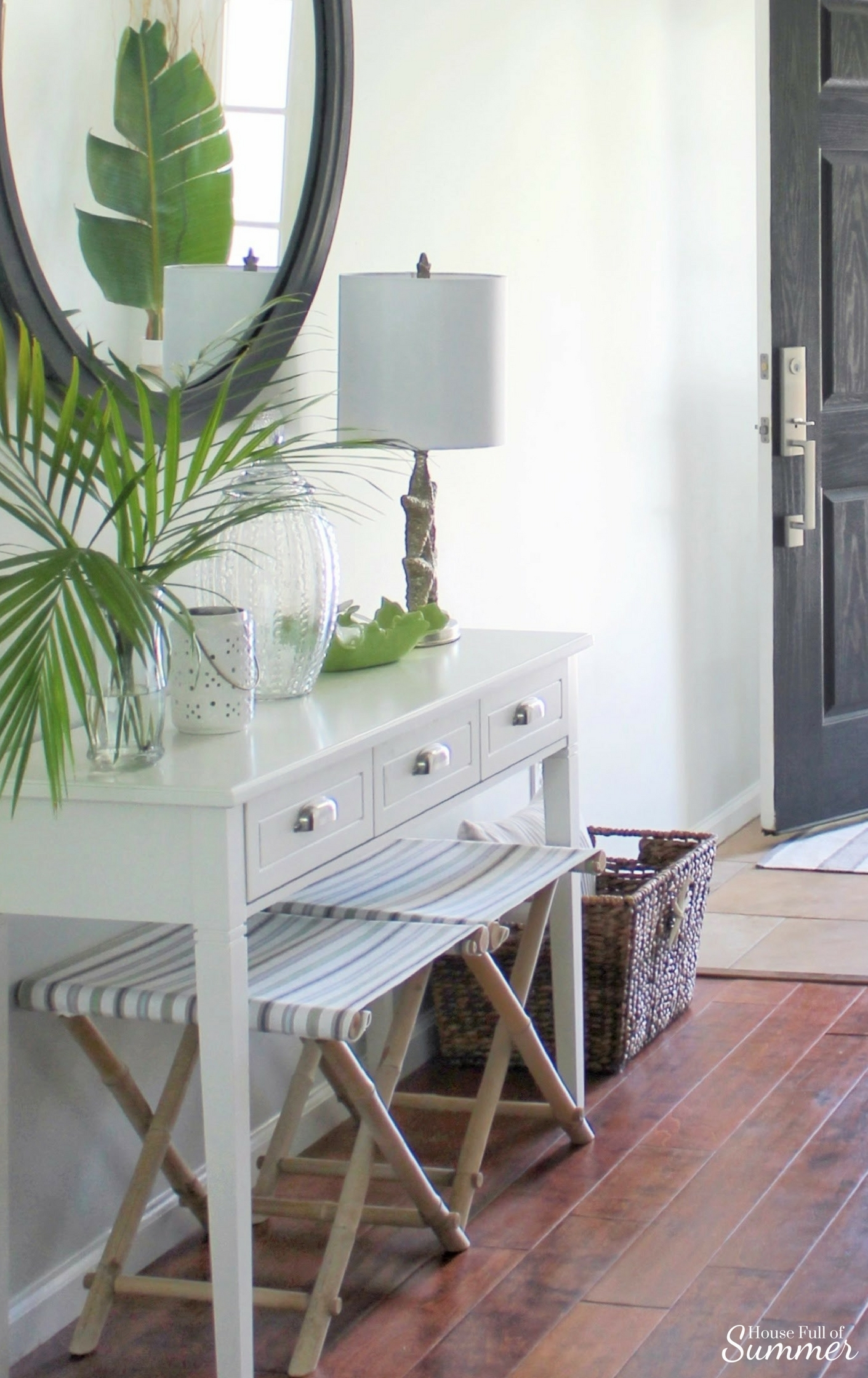 House Full of Summer - Foyer makeover on a budget, before and after, white console table, entryway decor, foyer ideas, stools, tropical home style, coastal decor