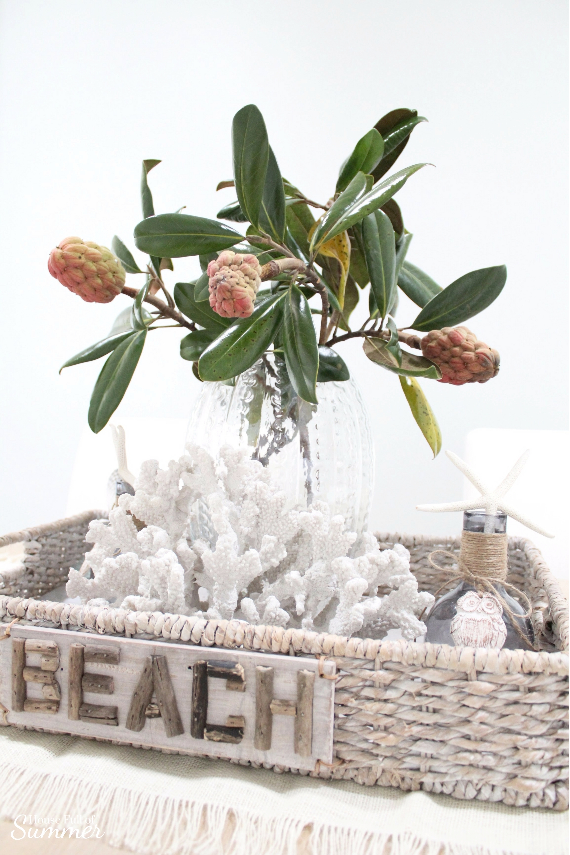 House Full of Summer: Fall Home Tour Blog Hop - Cozy, Coastal, Chic Dining Room, beachy decor, coral, starfish, tray styling ideas, table decor, diy ideas, decorating on a budget, southern living